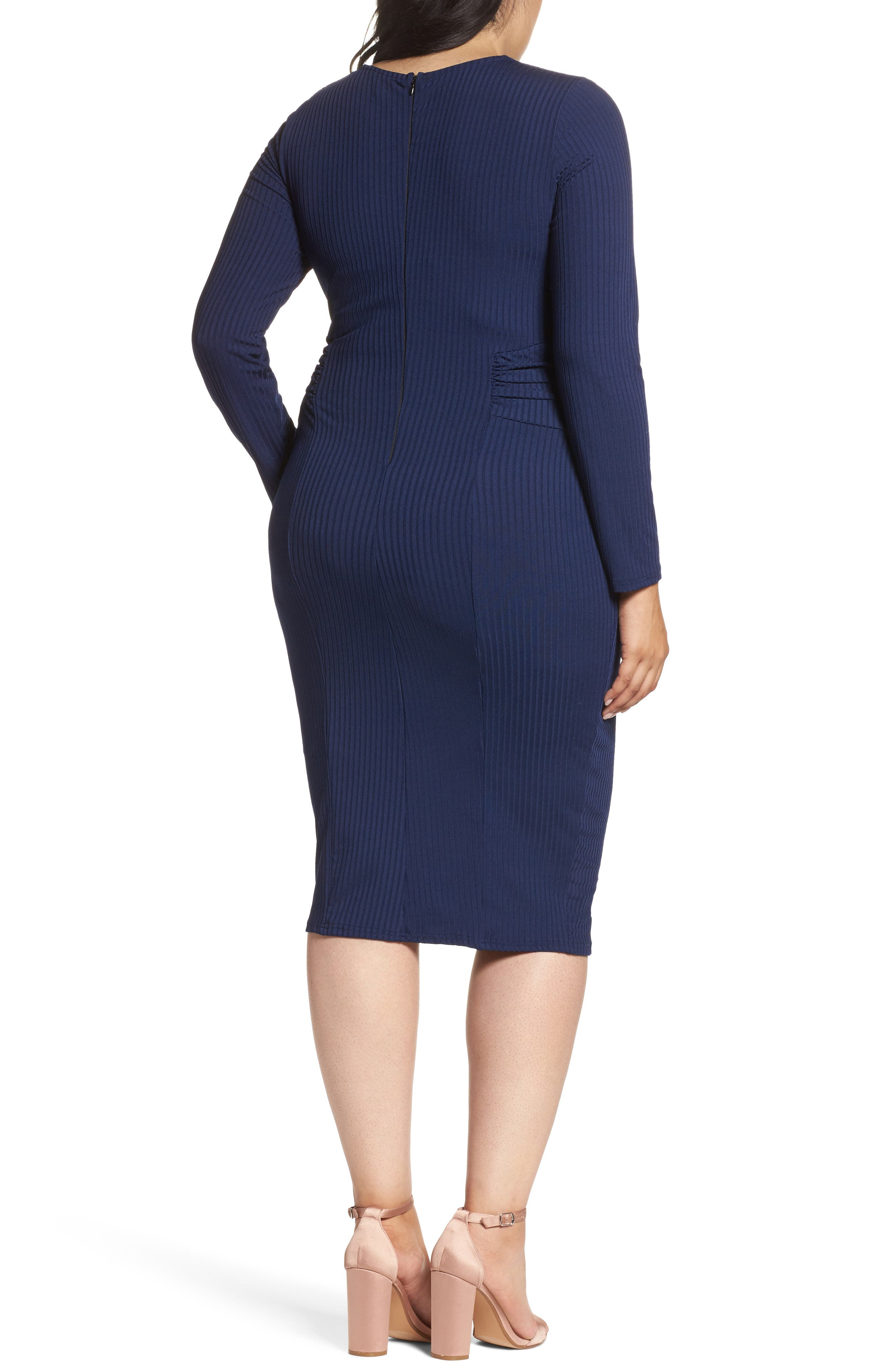 Tie Front Ribbed Sheath Dress,                             Alternate thumbnail 4, color,                             Navy