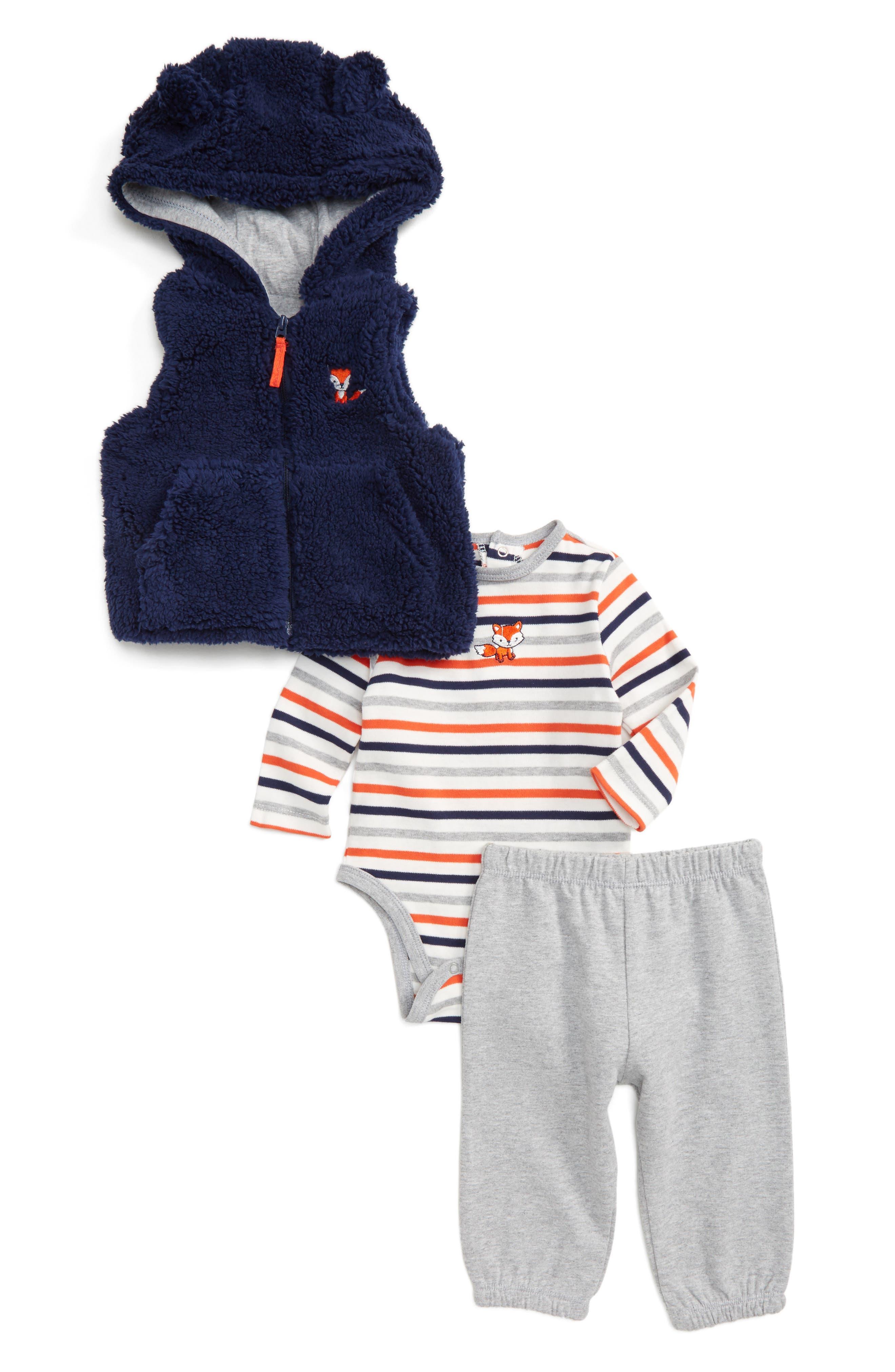 Fox Vest, Bodysuit & Pants Set,                         Main,                         color, Grey Heather Multi