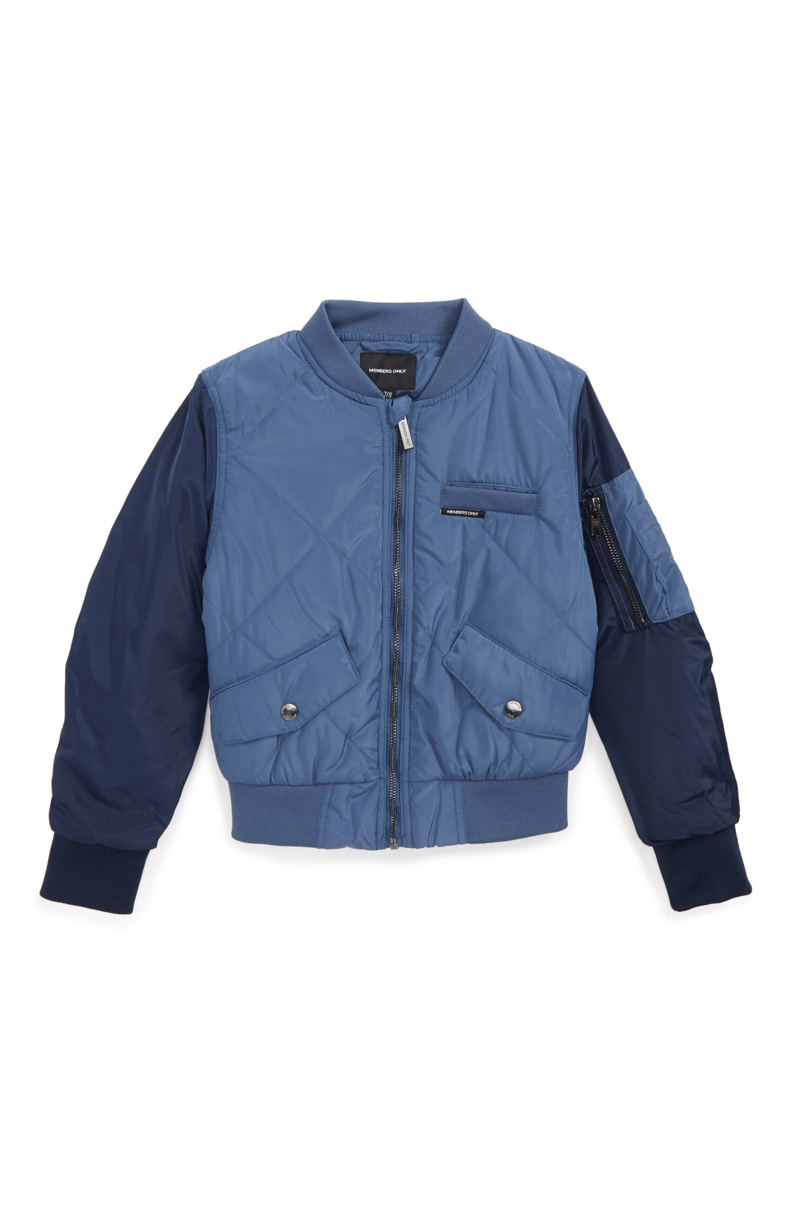 Quilted Bomber Jacket,                         Main,                         color, Blue Horizon