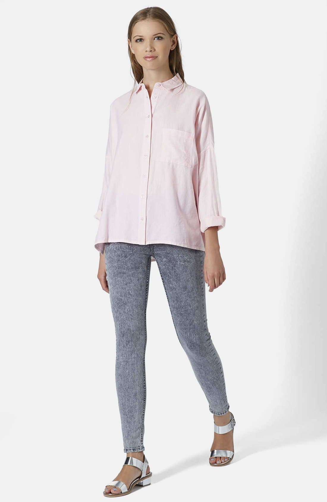 Oversized Chambray Shirt,                             Alternate thumbnail 5, color,                             Pink