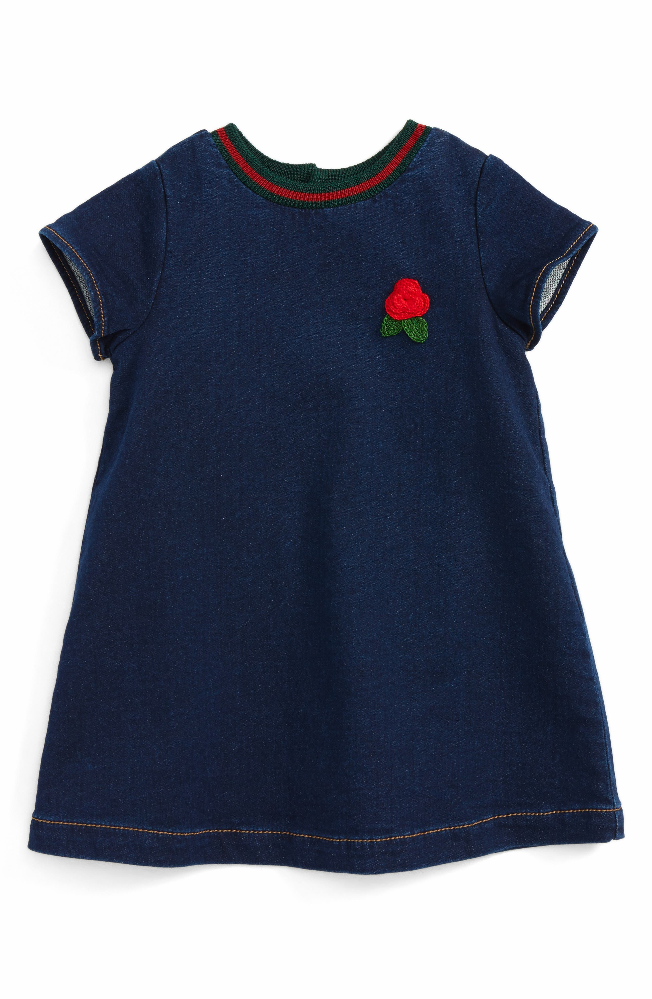 Alternate Image 1 Selected - Gucci Knit Collar Denim Dress (Baby Girls)