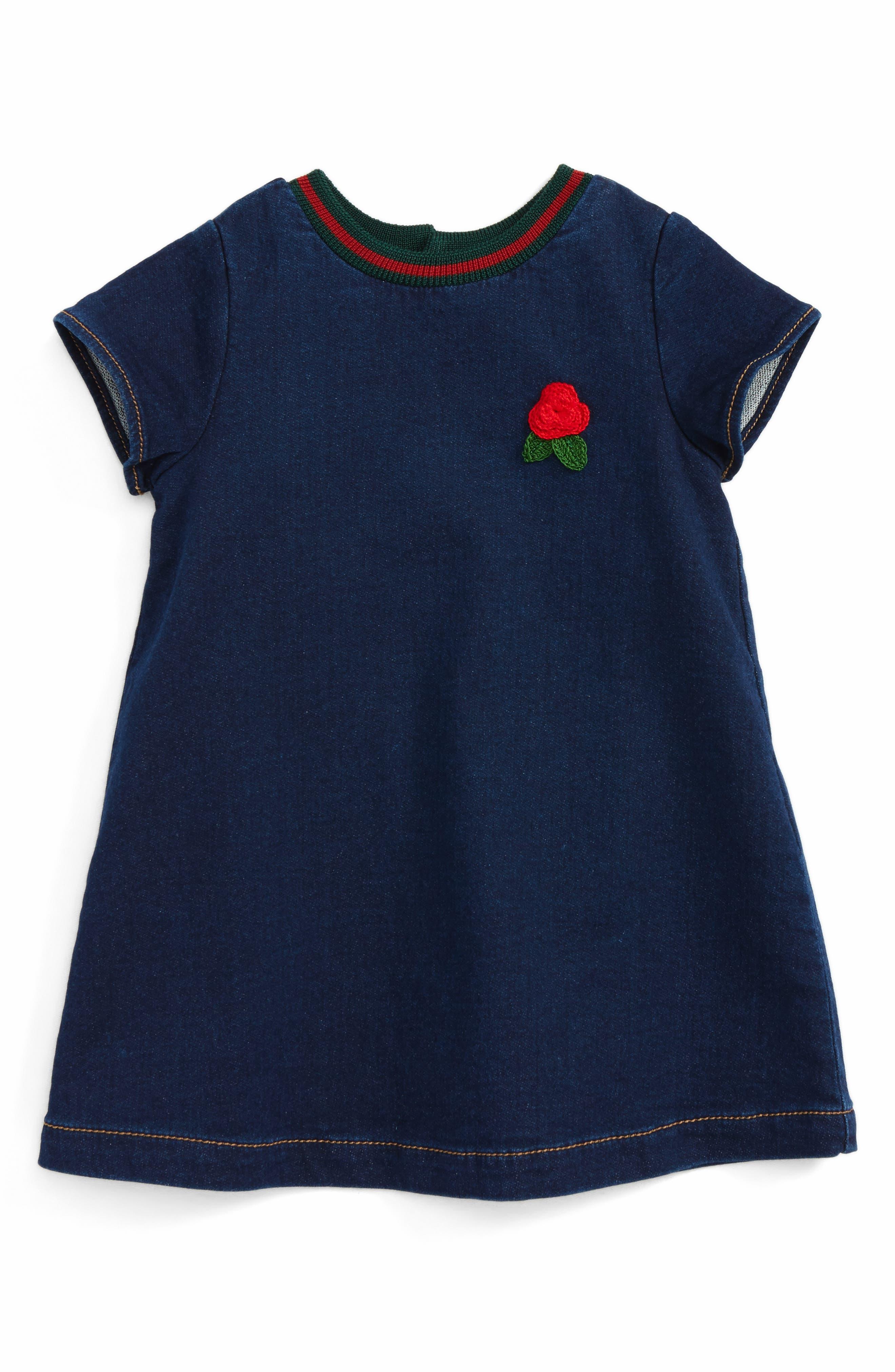Main Image - Gucci Knit Collar Denim Dress (Baby Girls)