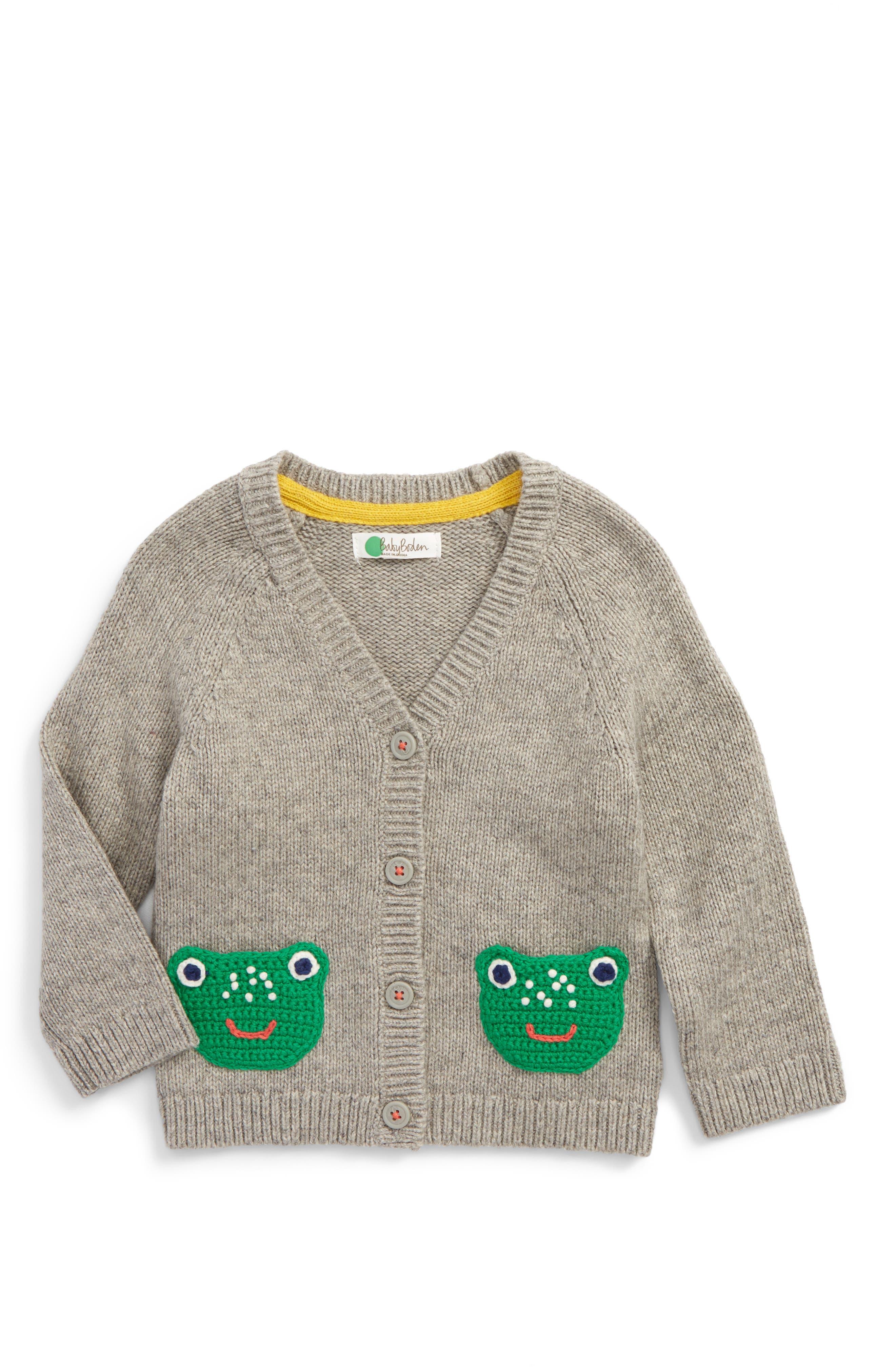 Crochet Friends Cardigan,                             Main thumbnail 1, color,                             Grey Marl Frogs