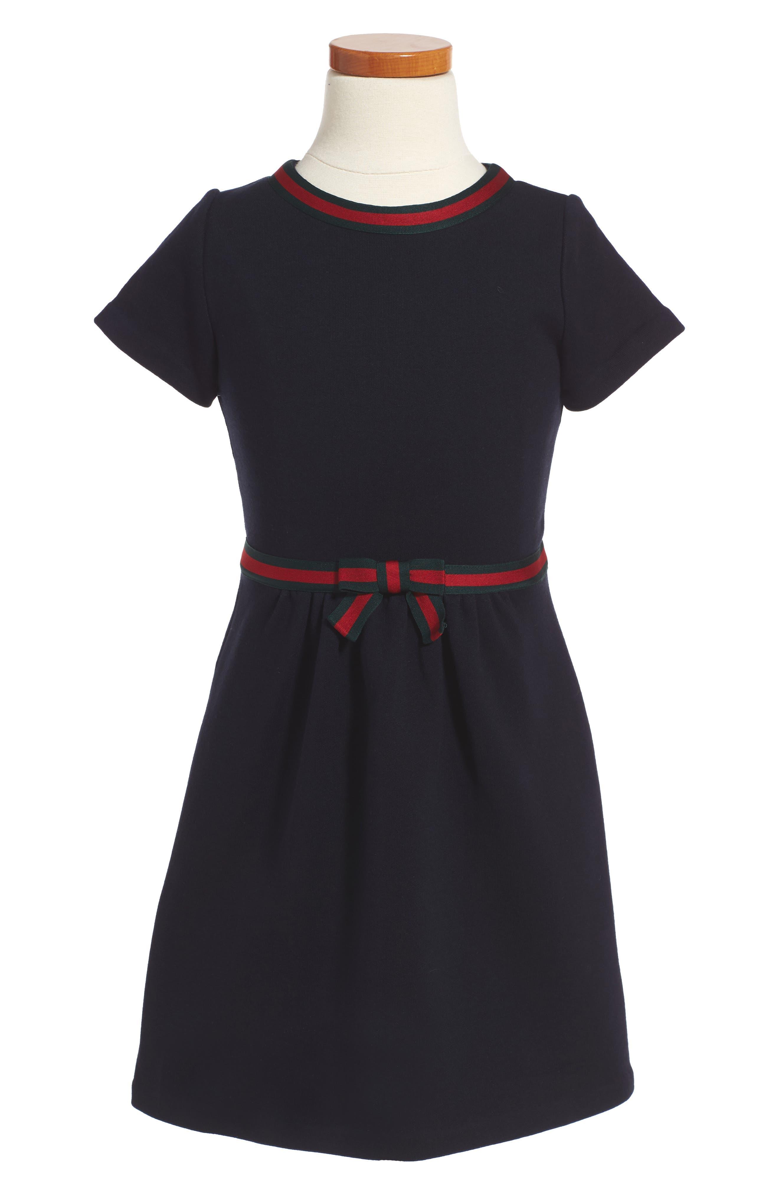 Alternate Image 1 Selected - Gucci Stripe A-Line Dress (Little Girls & Big Girls)