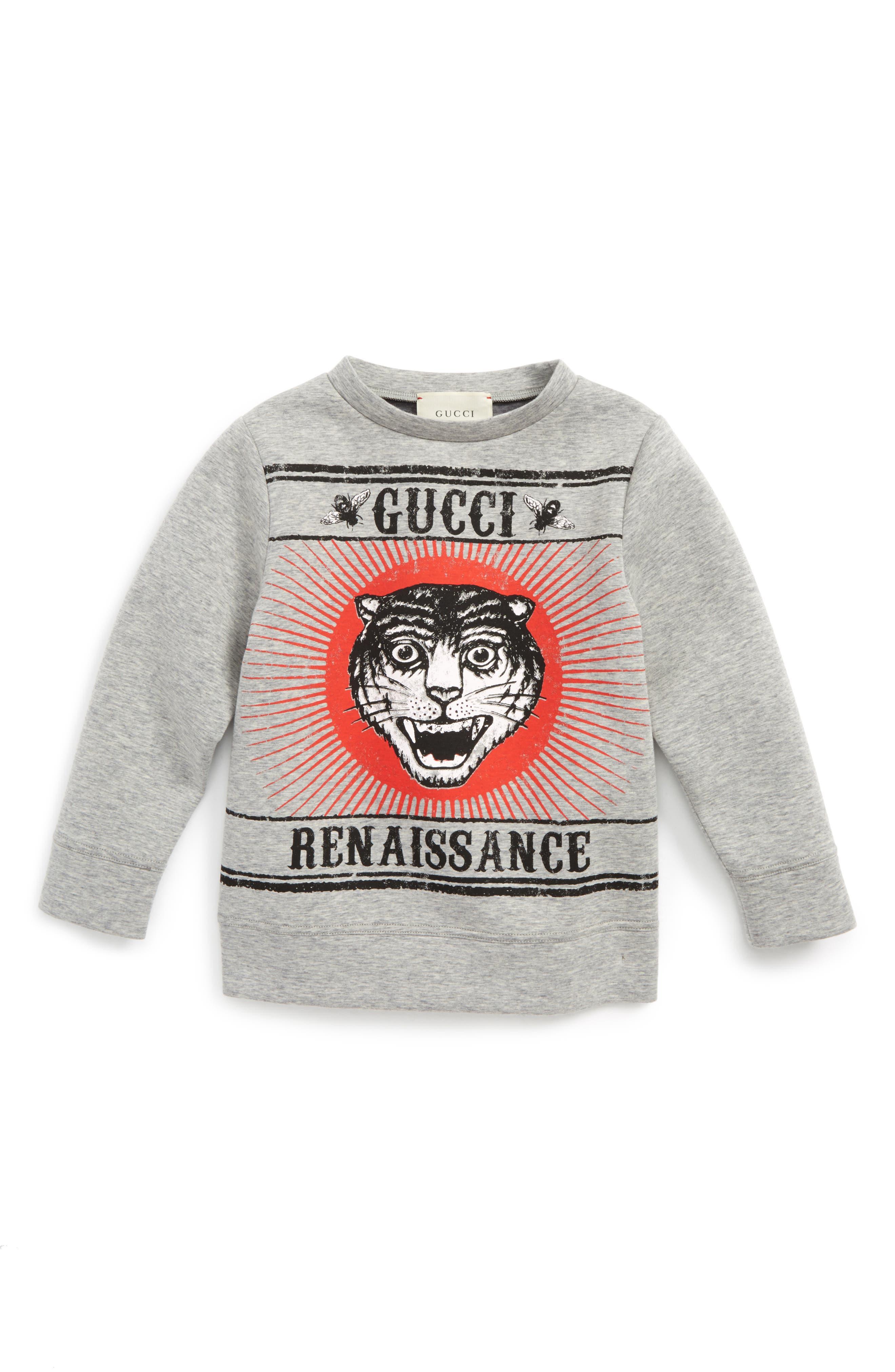 Tiger Graphic Sweatshirt,                         Main,                         color, Grey Multi