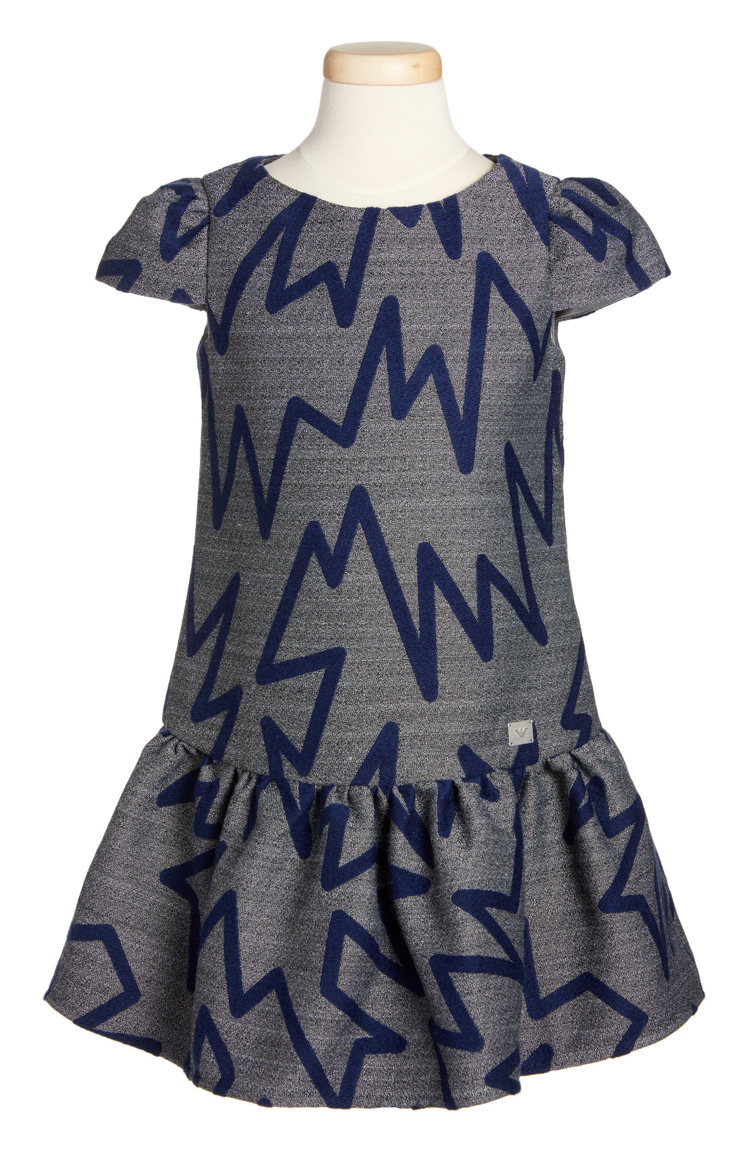 Main Image - Armani Junior Zig Zag Drop Waist Dress (Big Girls)