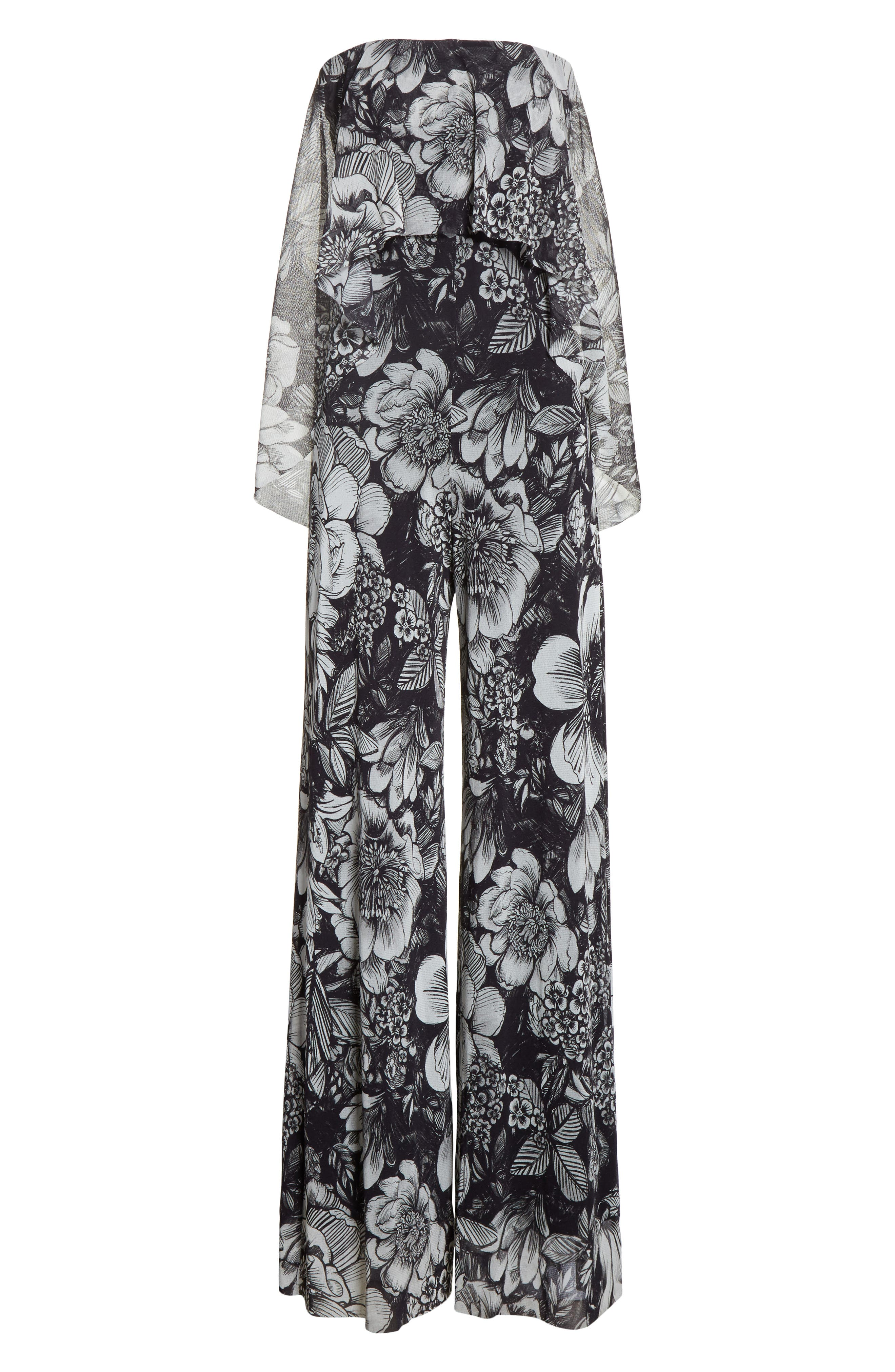 Popover Strapless Floral Print Tulle Jumpsuit,                             Alternate thumbnail 6, color,                             Nero