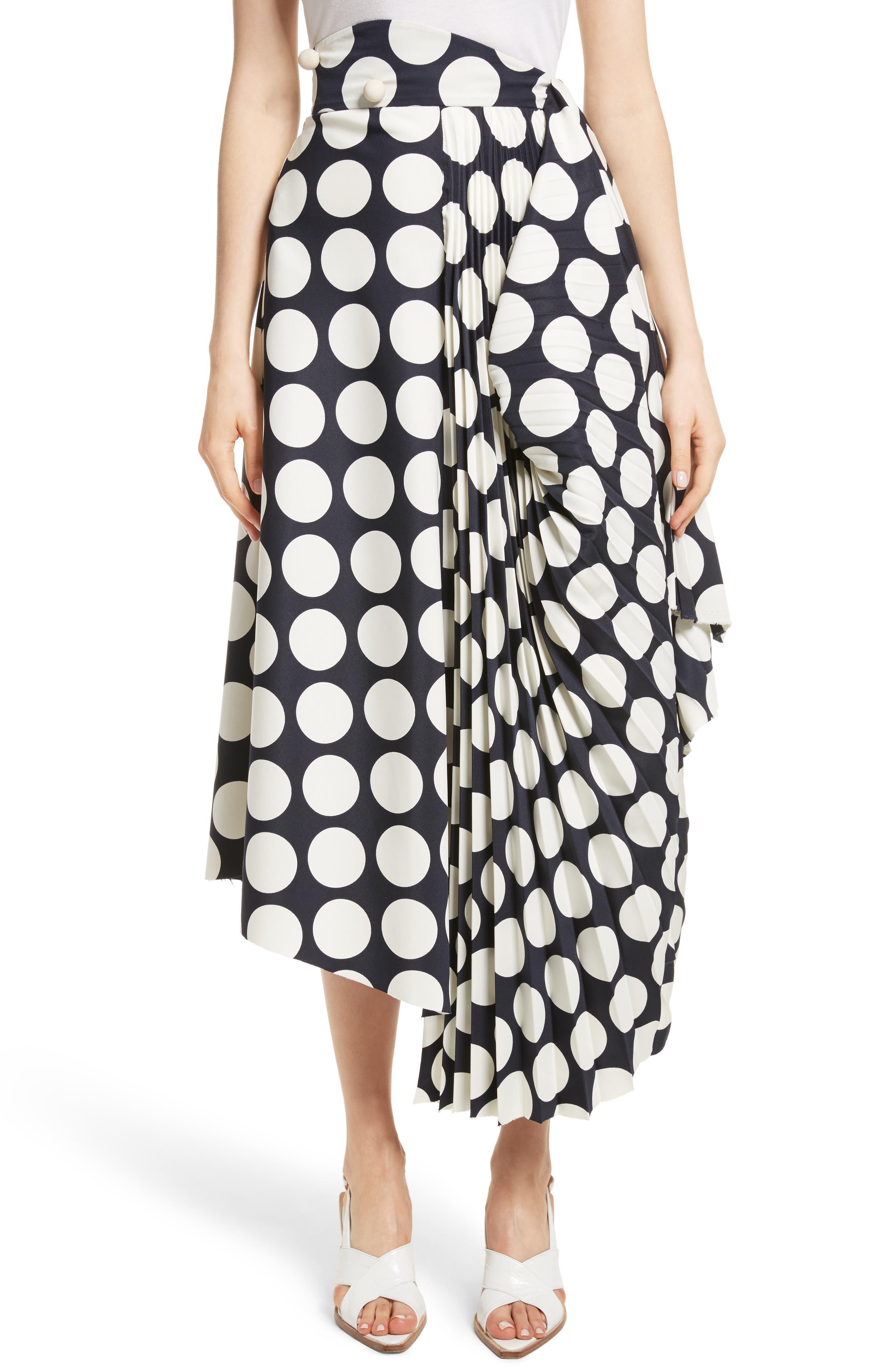 Giant Polka Dot Pleated Skirt,                         Main,                         color, Navy/ Off-White