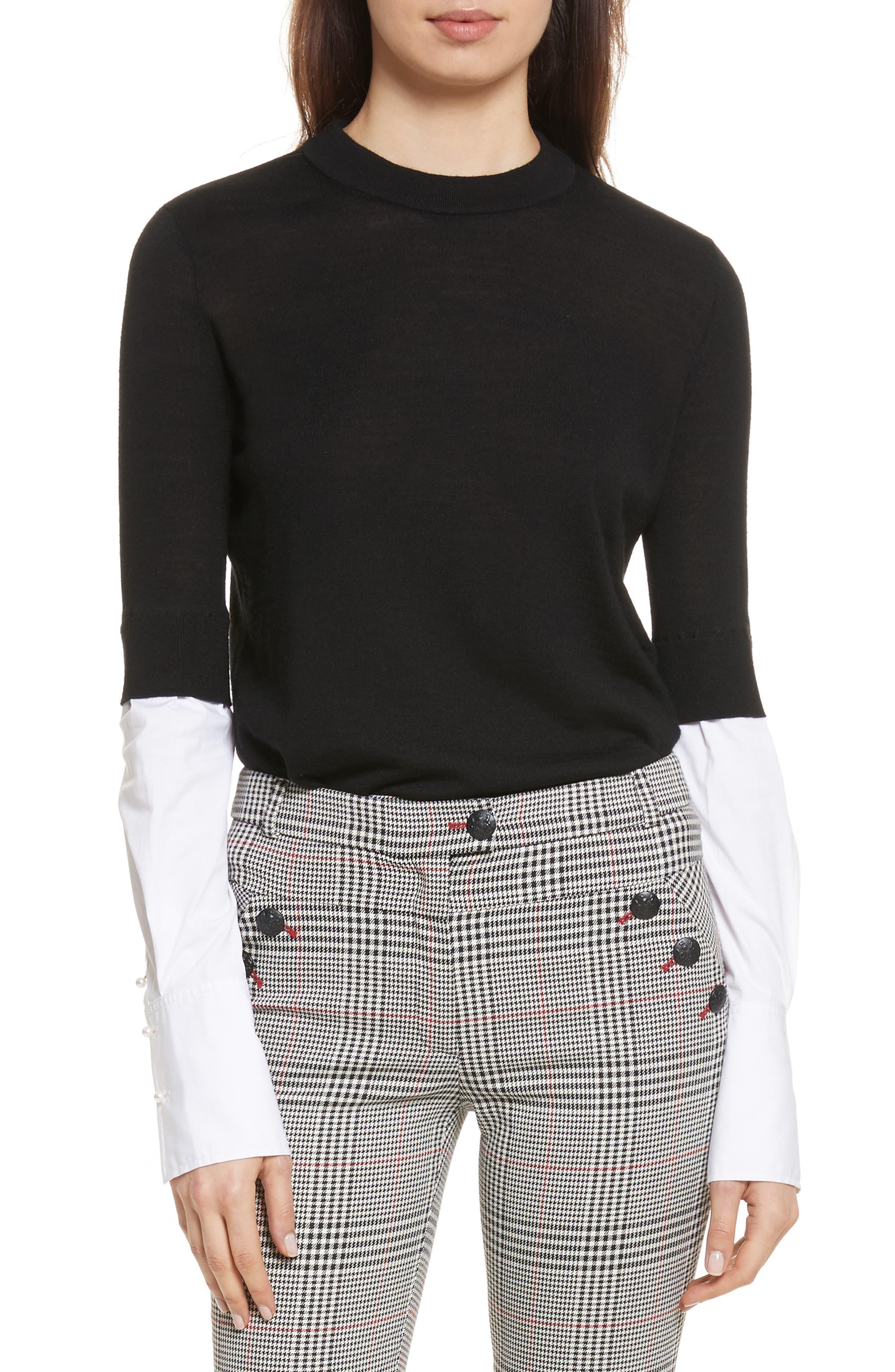 Roscoe Mixed Media Sweater,                             Main thumbnail 1, color,                             Black