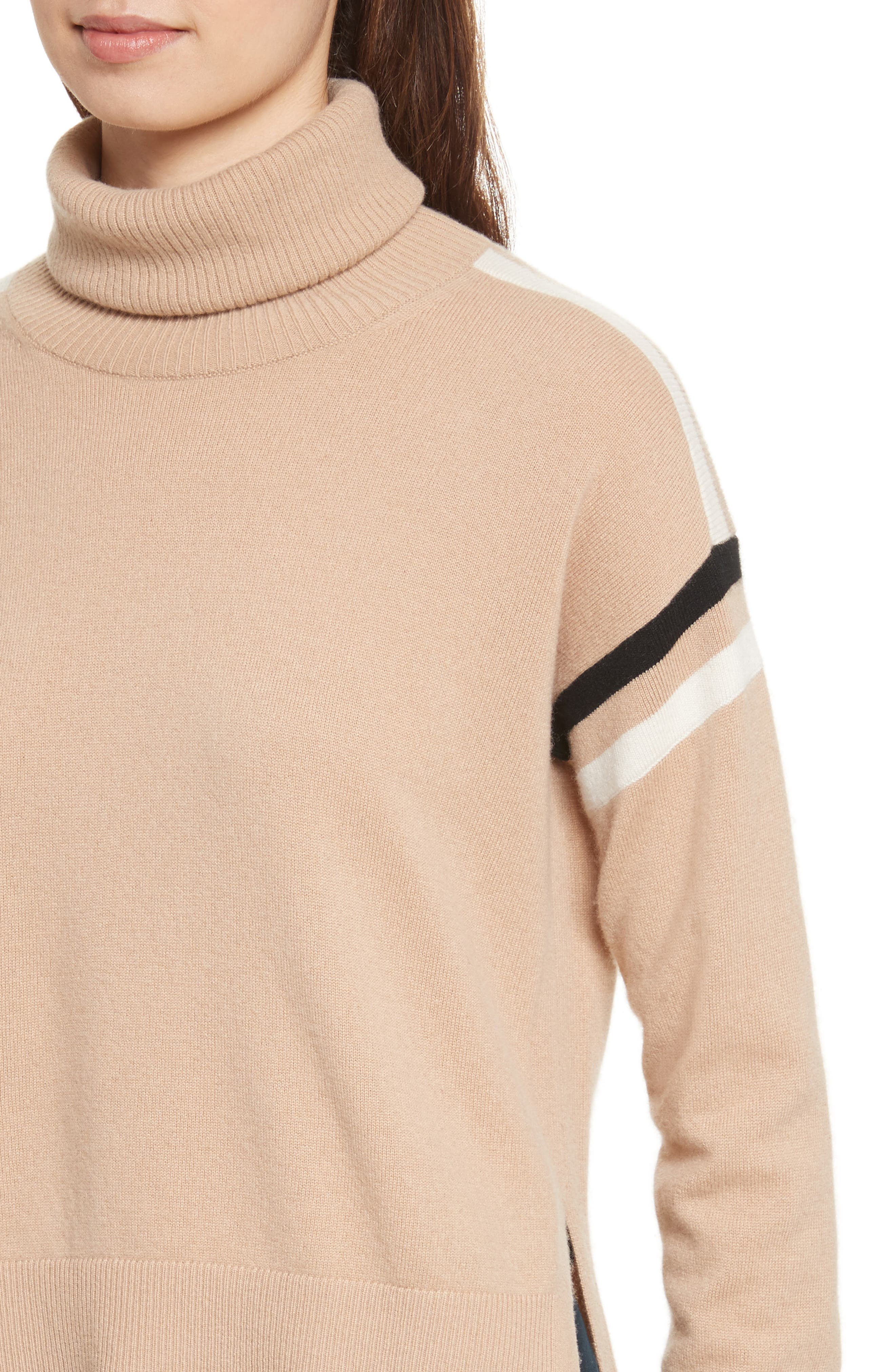 Canter Cashmere Turtleneck,                             Alternate thumbnail 4, color,                             Camel/ Ivory/ Black