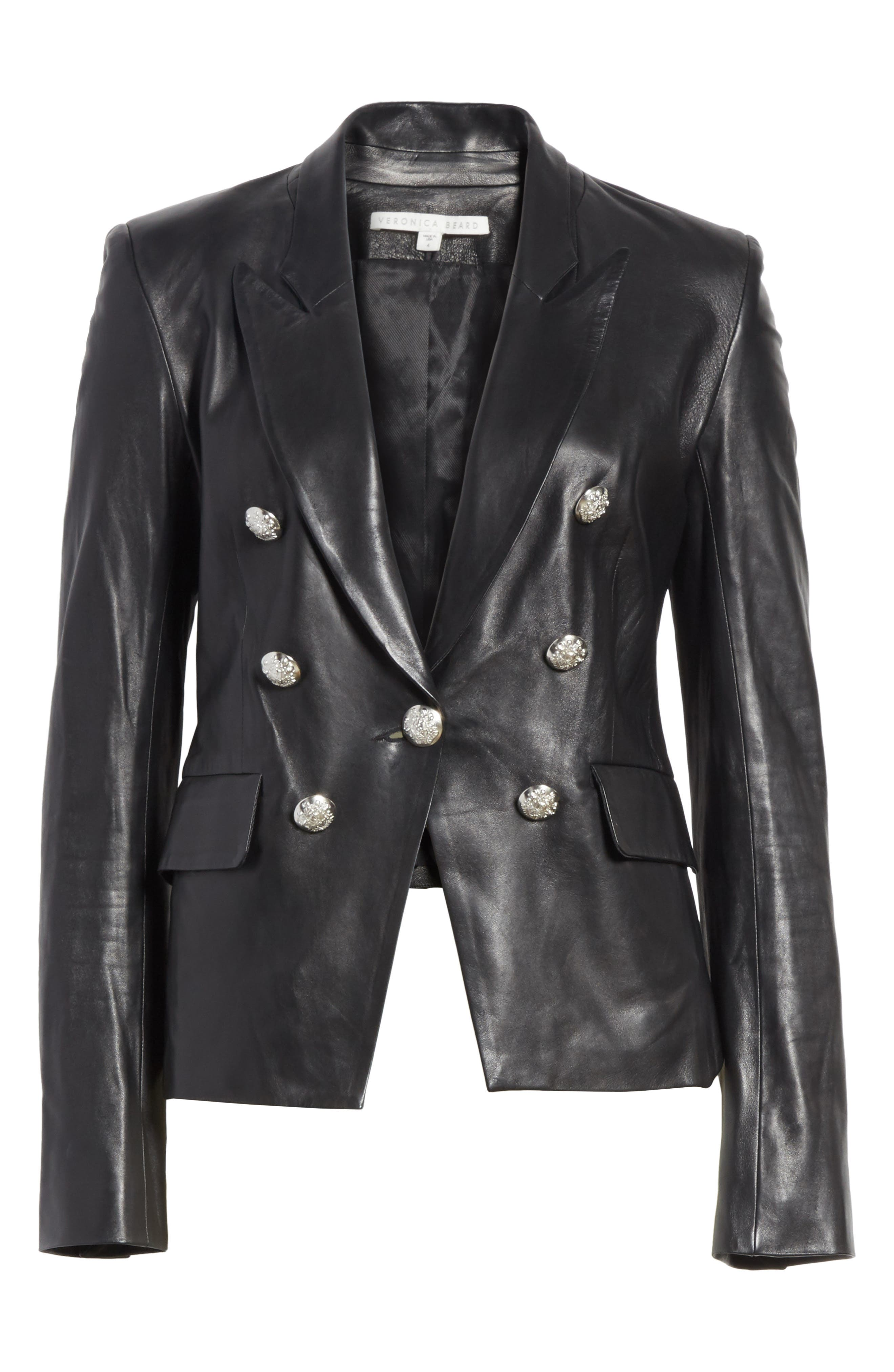 Cooke Leather Jacket,                             Alternate thumbnail 6, color,                             Black