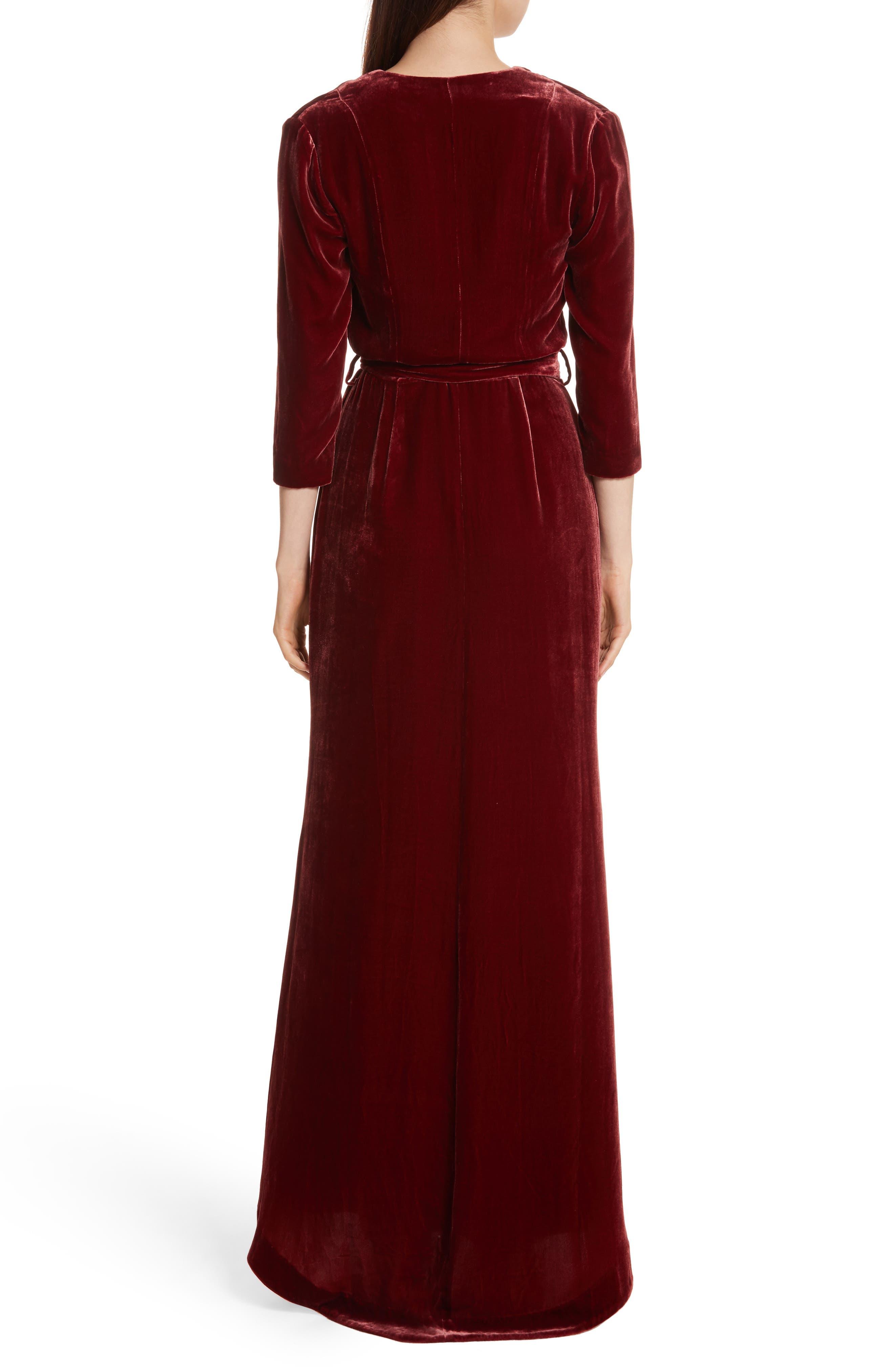 Rosalind Velvet Maxi Wrap Dress,                             Alternate thumbnail 2, color,                             Ruby
