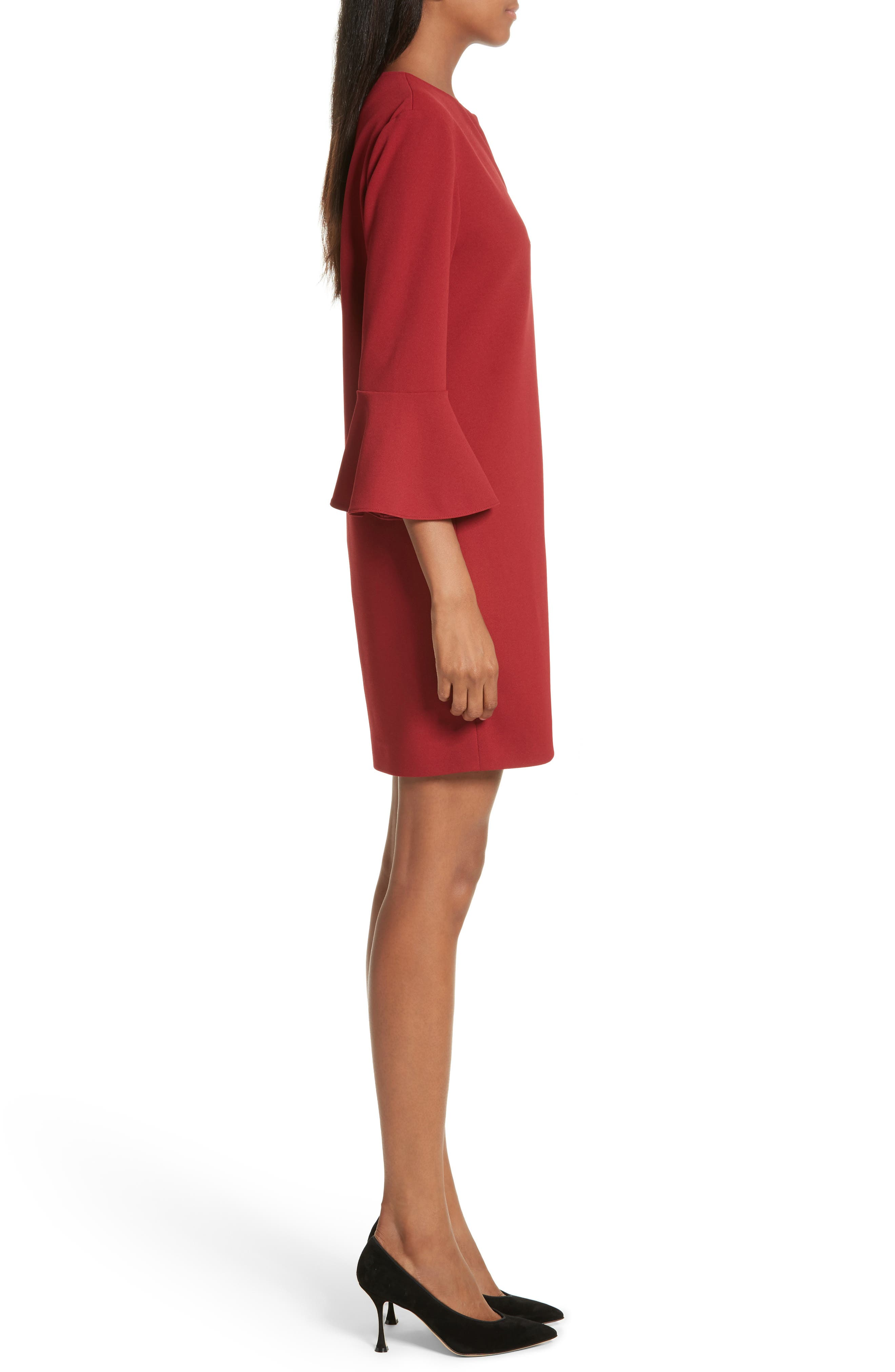 Bell Cuff Stretch Crepe Dress,                             Alternate thumbnail 3, color,                             Burnt Red