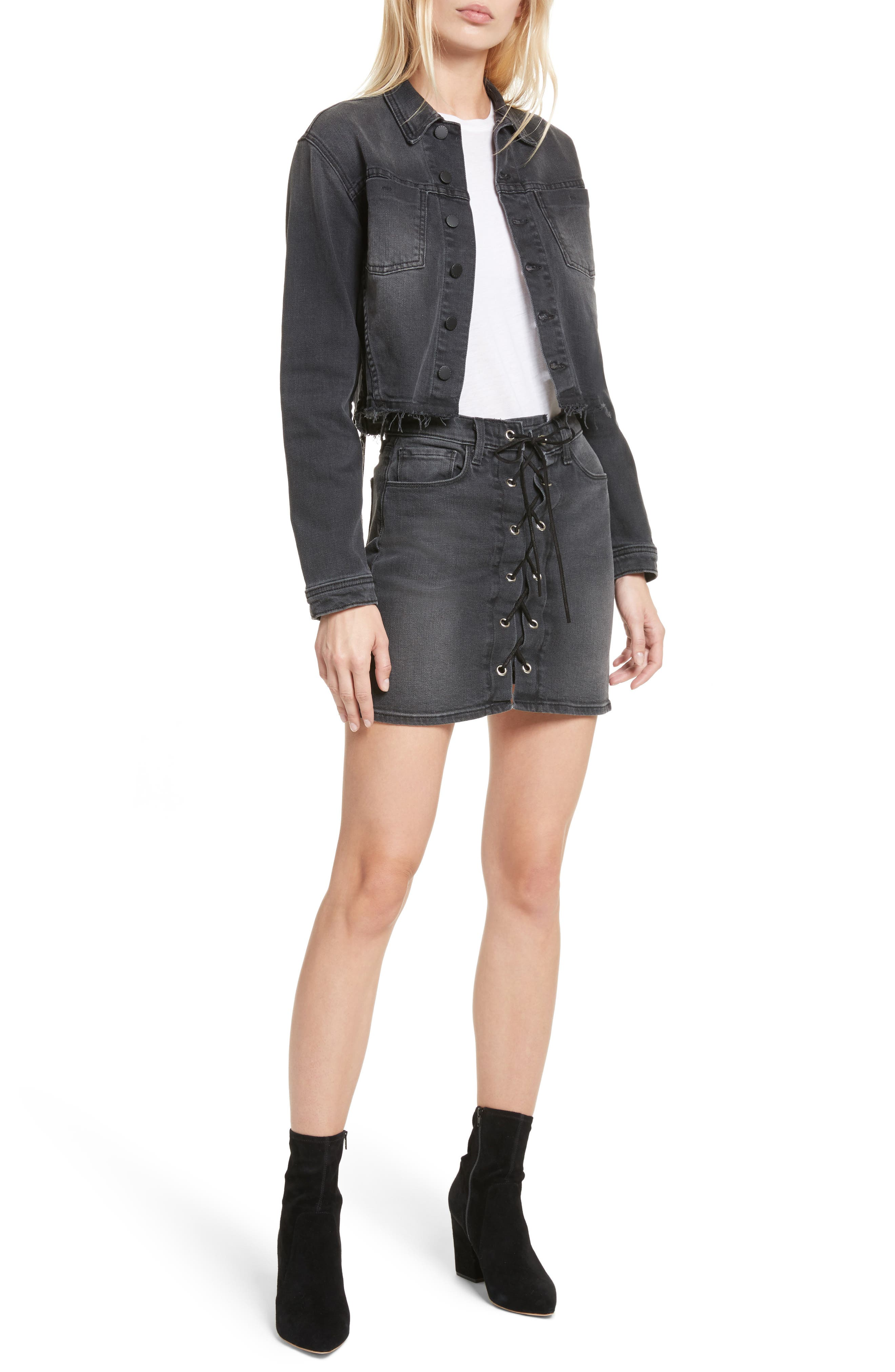 Alternate Image 2  - L'AGENCE Portia Lace Up Denim Skirt