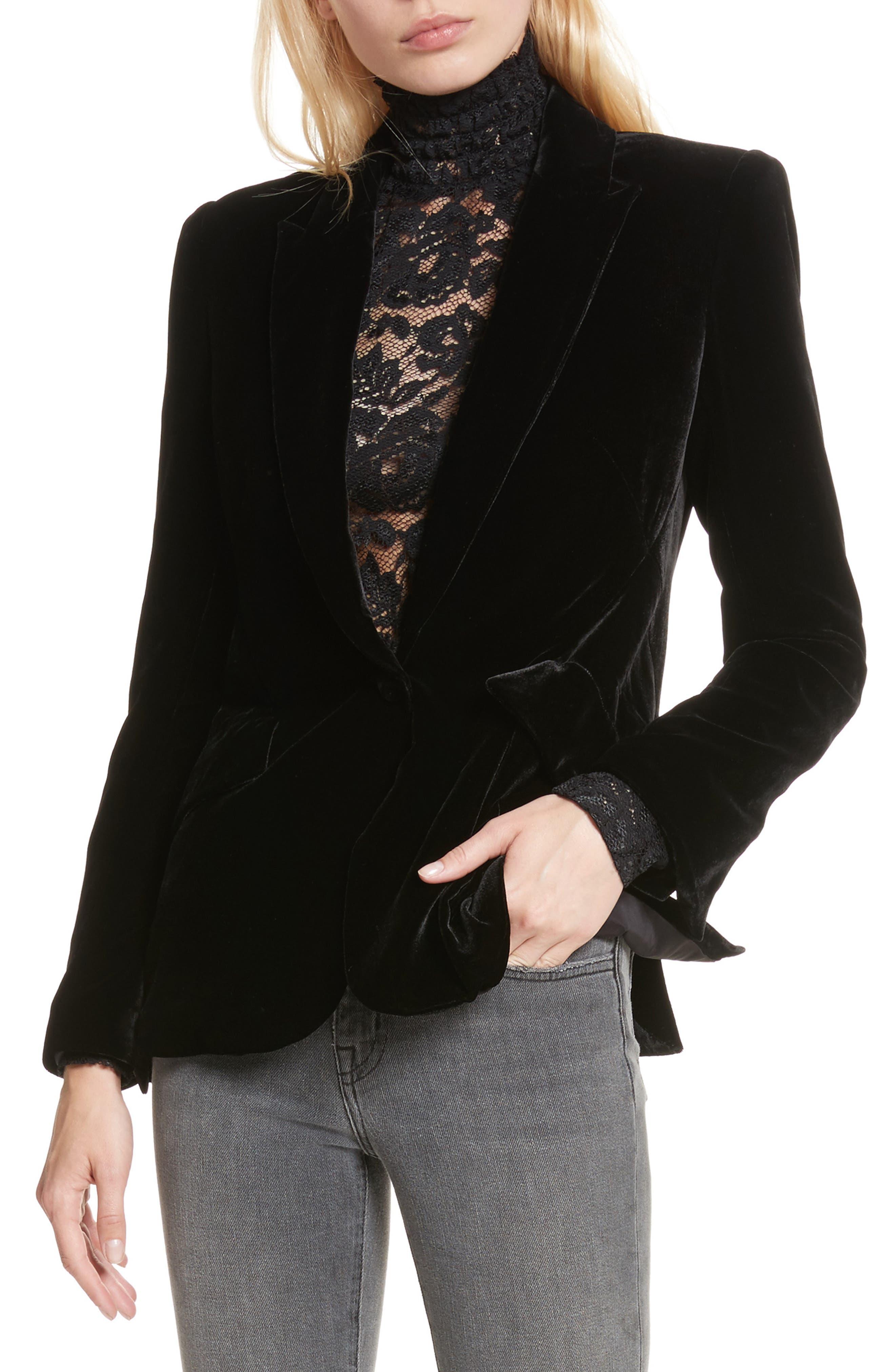 Alternate Image 1 Selected - L'AGENCE Velvet Blazer