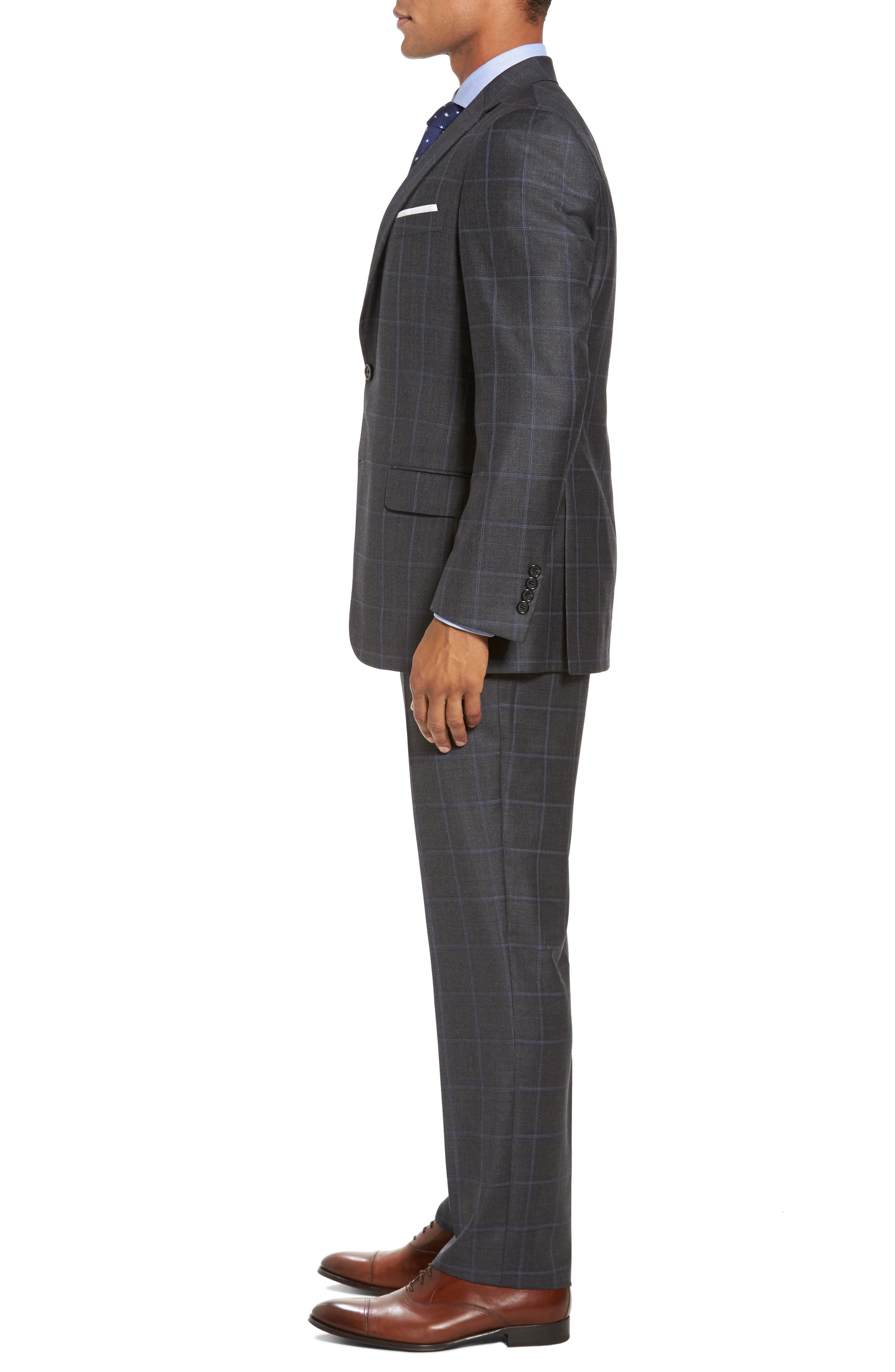 Classic Fit Plaid Wool Suit,                             Alternate thumbnail 3, color,                             Dark Grey