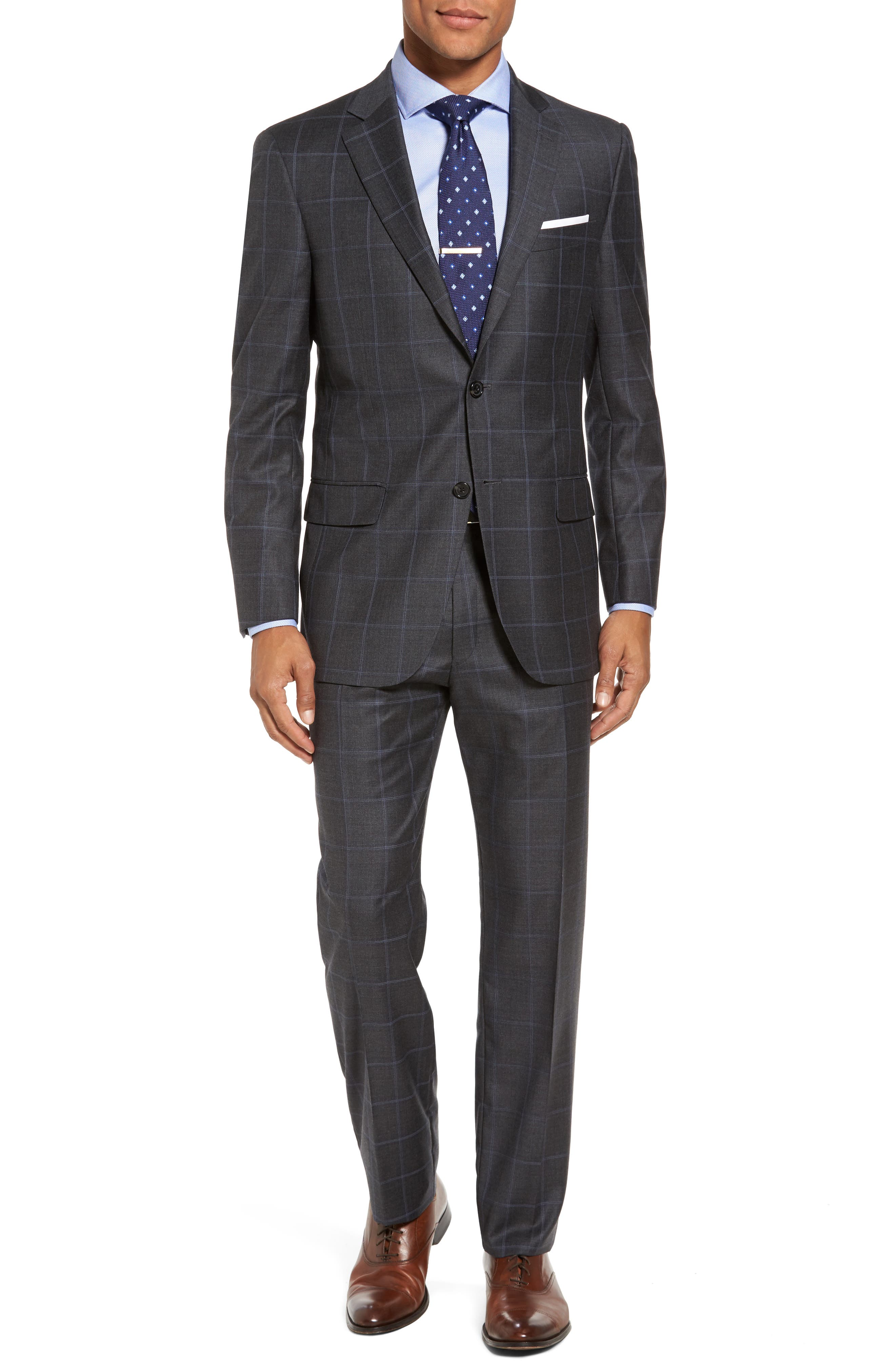 Classic Fit Plaid Wool Suit,                             Main thumbnail 1, color,                             Dark Grey