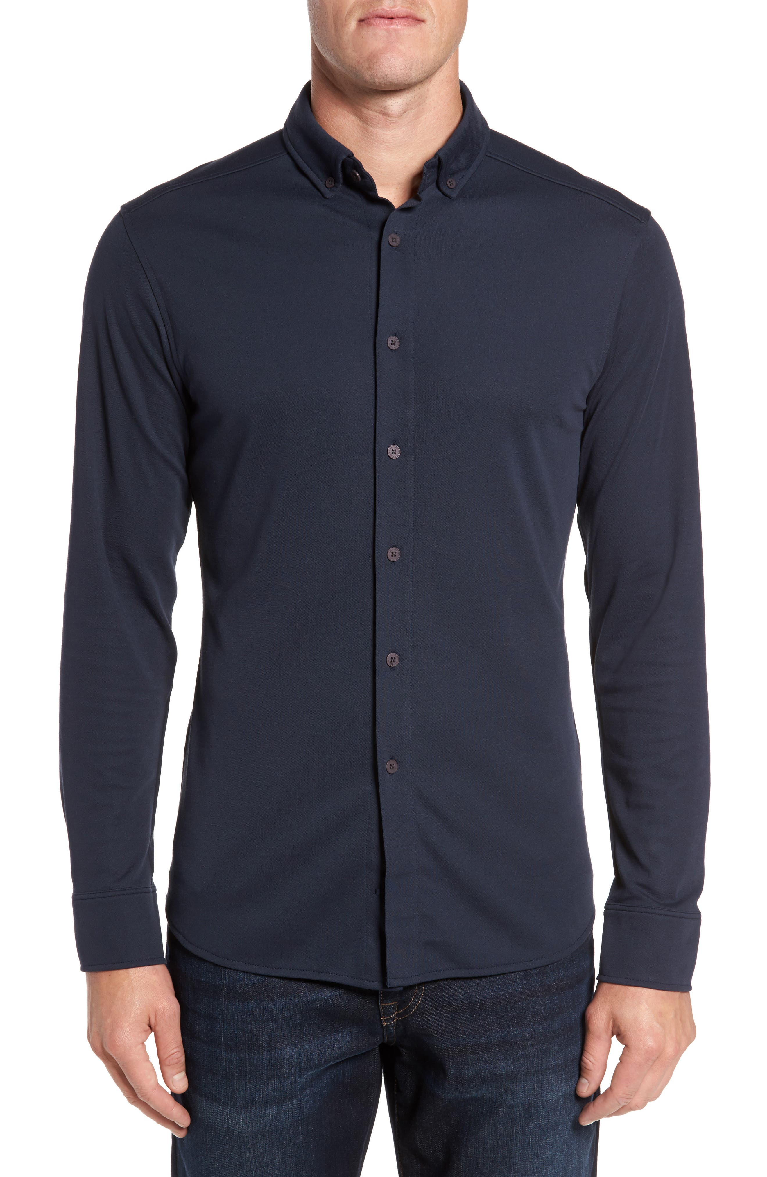Slim Fit Button Down Collar Sport Shirt,                         Main,                         color, Navy