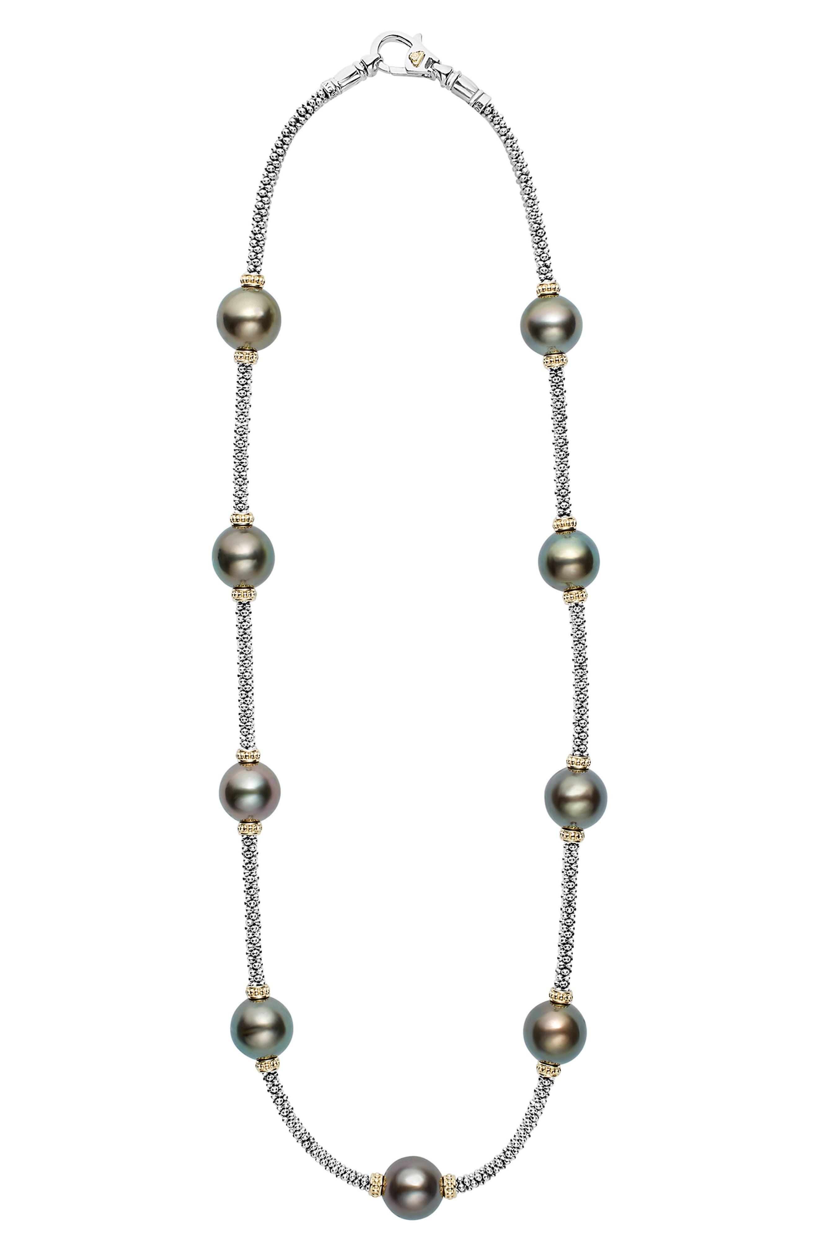 Luna Pearl Rope Necklace,                         Main,                         color, Black Pearl