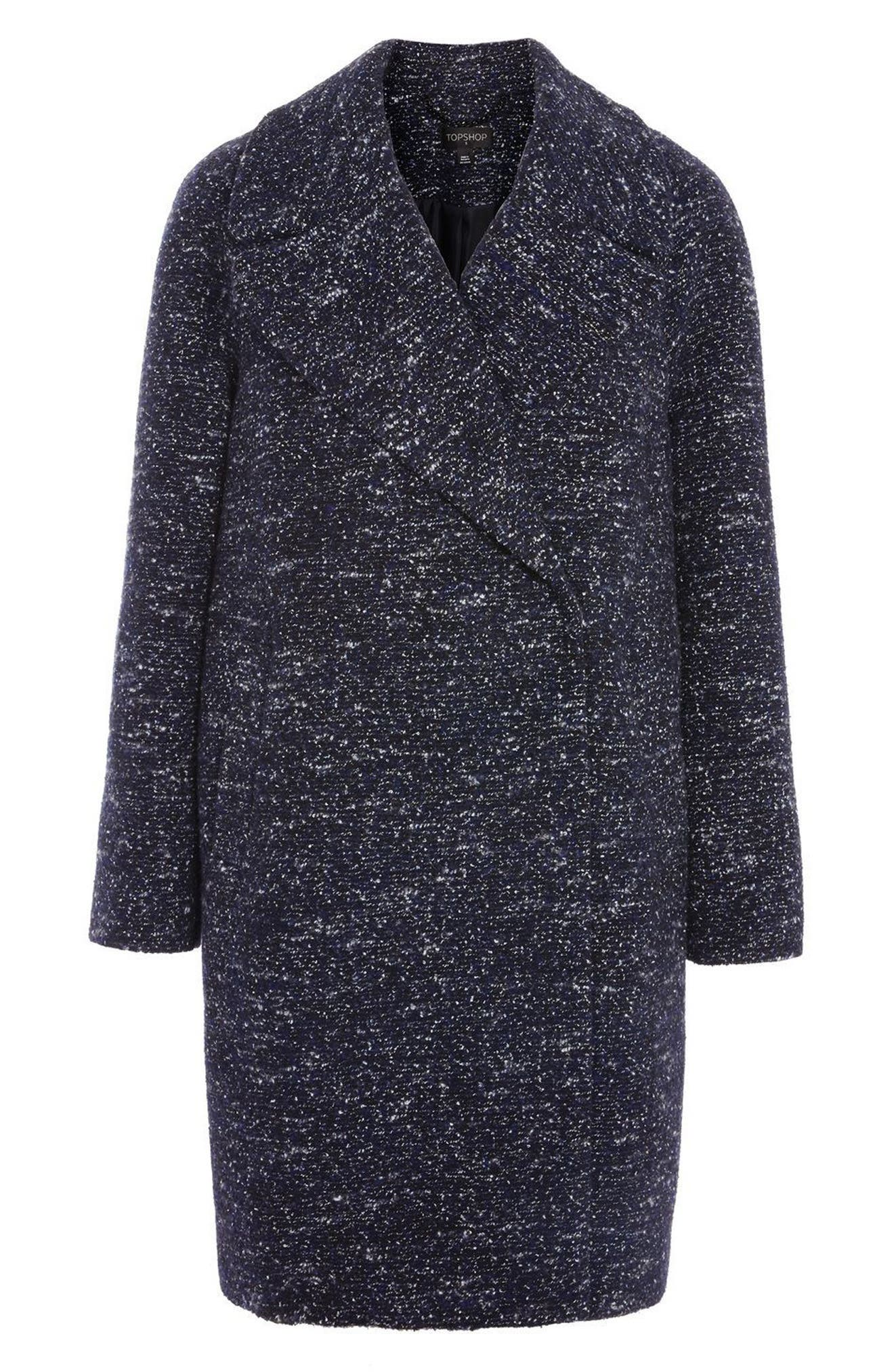 Bouclé Cocoon Coat,                             Alternate thumbnail 5, color,                             Navy Blue Multi