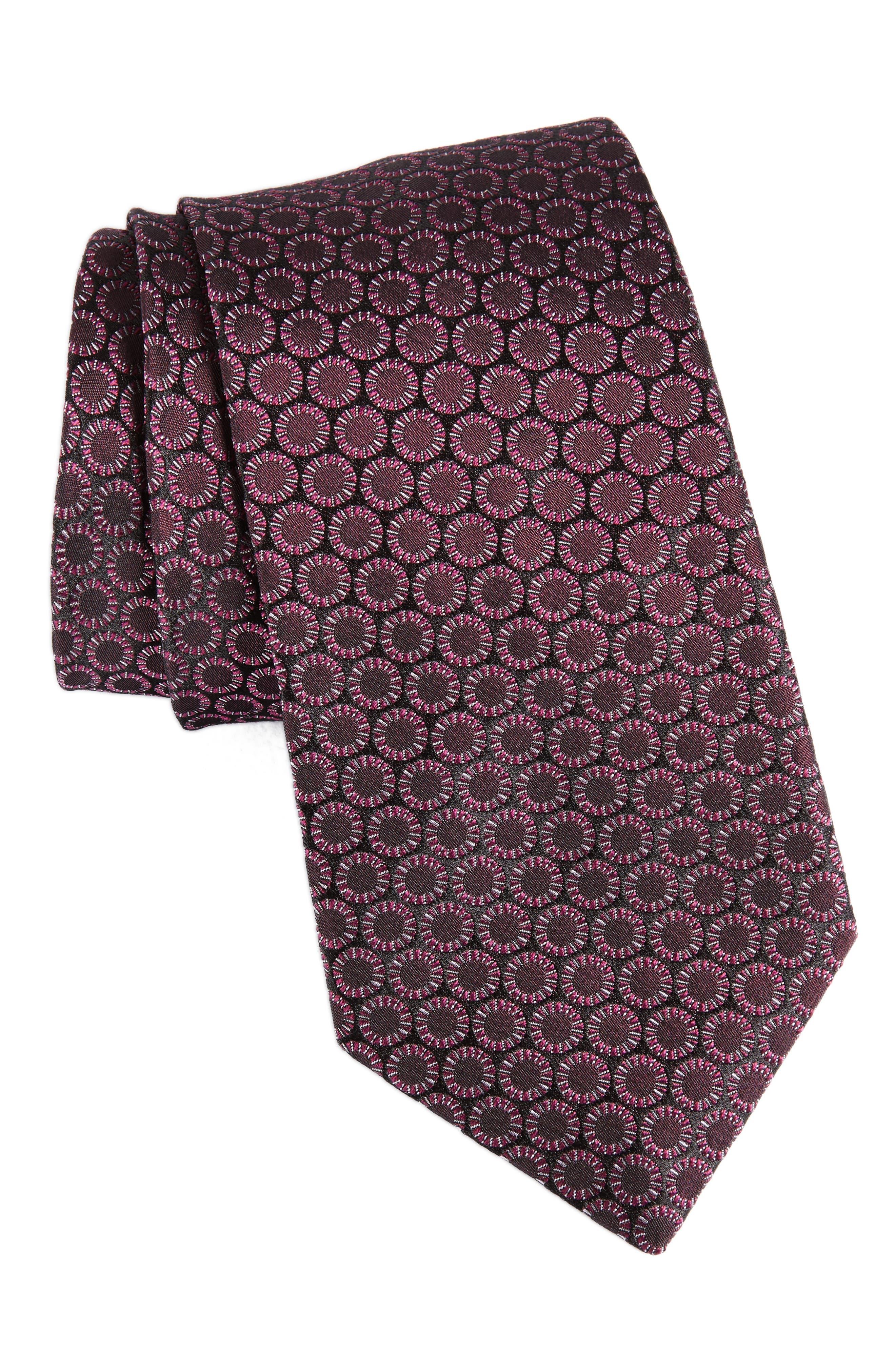 Stripe Silk Tie,                         Main,                         color, Mulberry