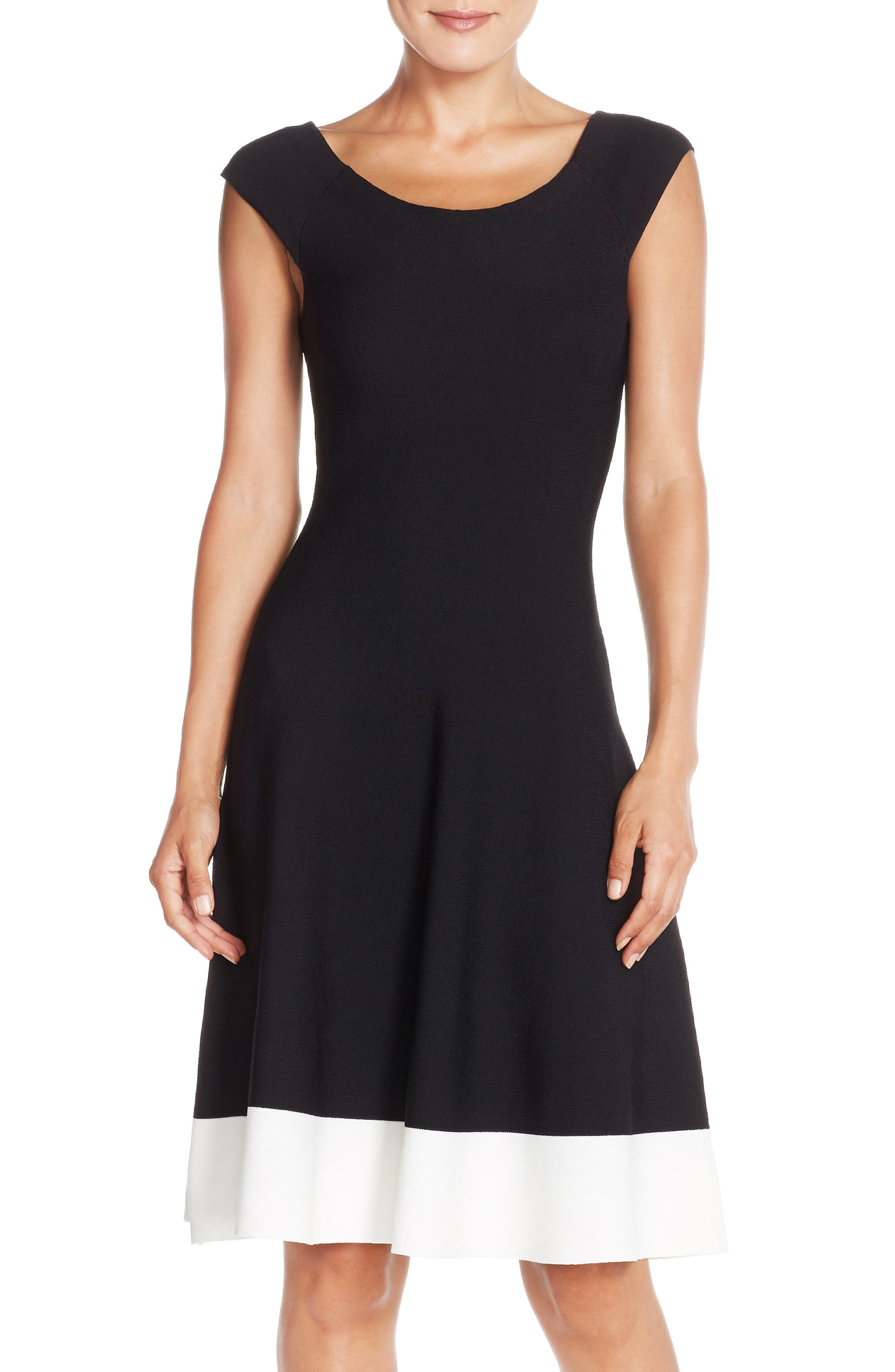 Colorblock Fit & Flare Sweater Dress,                             Main thumbnail 1, color,                             Black/ Ivory