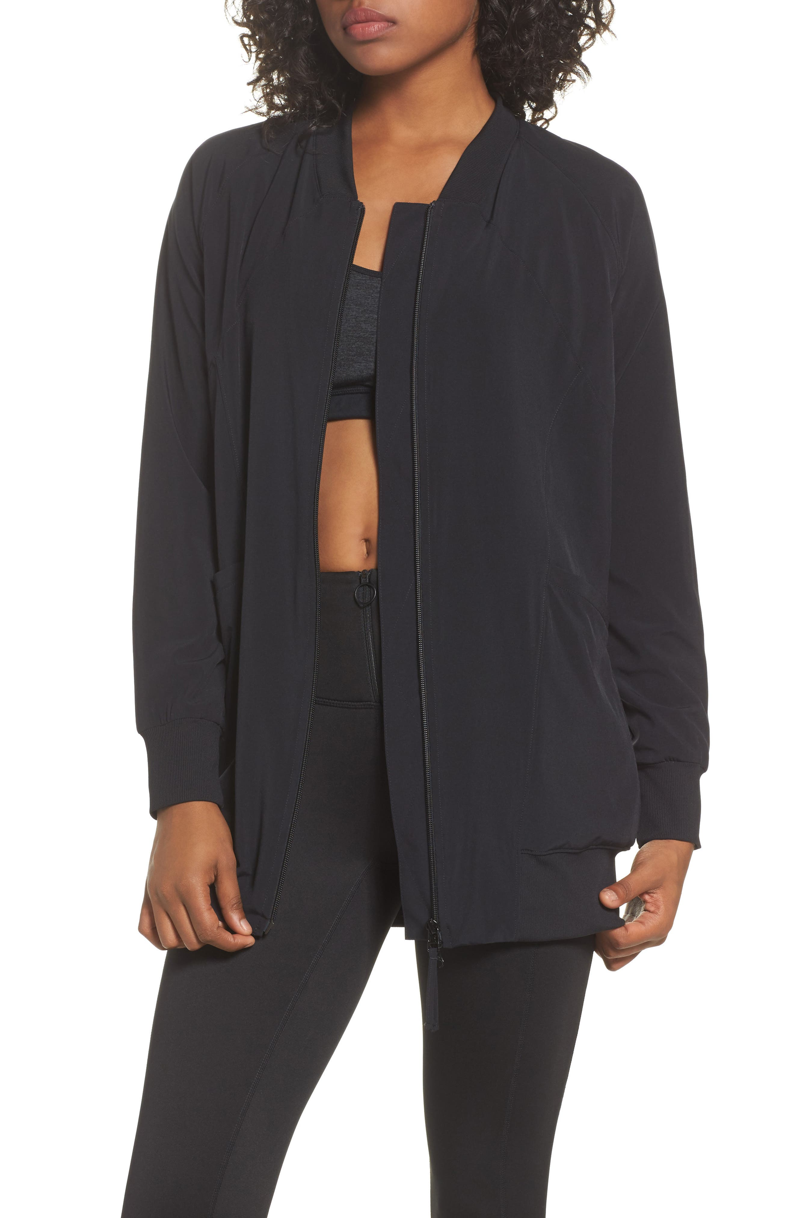 Alternate Image 1 Selected - Zella Long Bomber Jacket