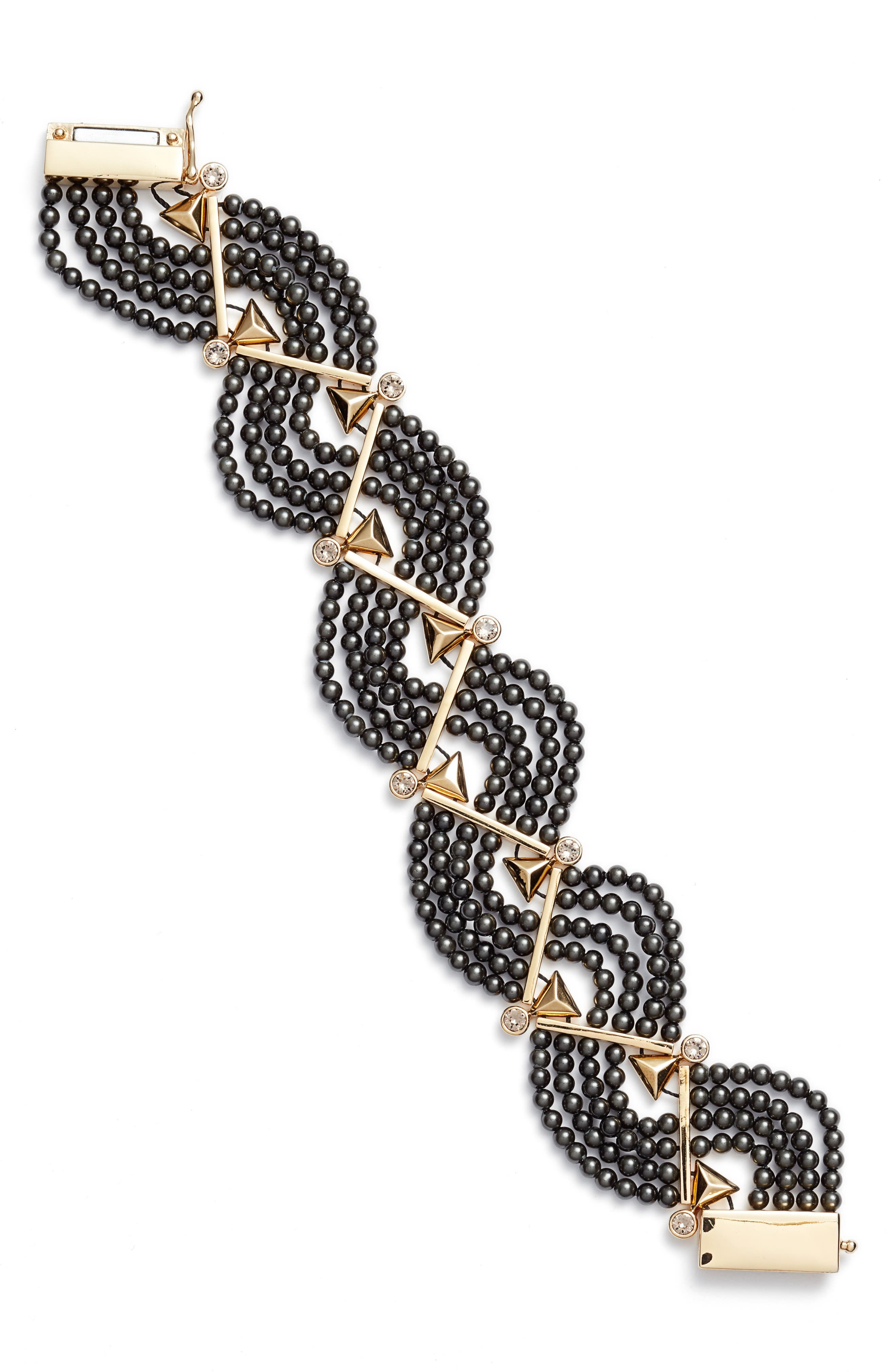 Crystal & Imitation Pearl Bracelet,                         Main,                         color, Black Pearl/ Gold