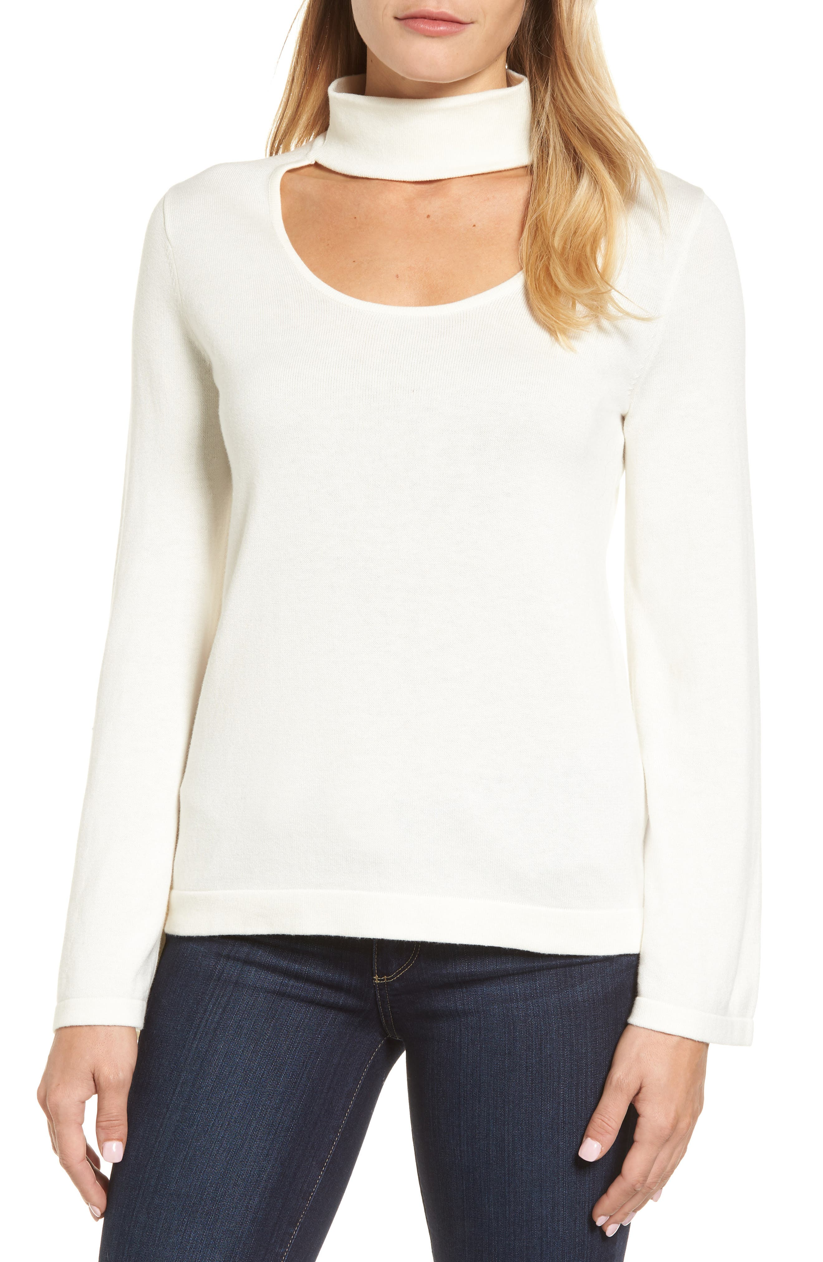 Main Image - Vince Camuto Bell Sleeve Choker Neck Sweater (Regular & Petite)