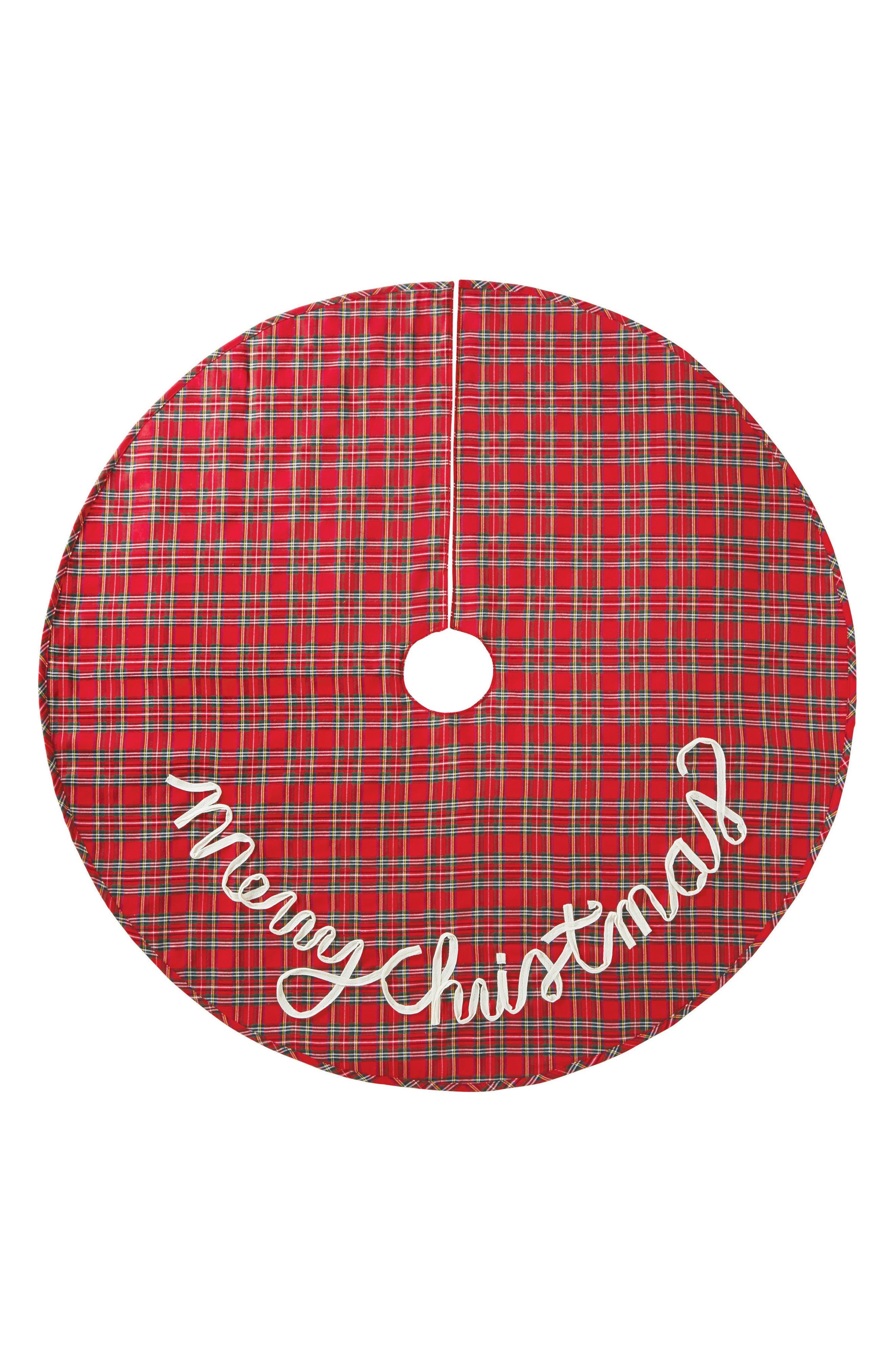 Merry Christmas Tartan Christmas Tree Skirt,                             Main thumbnail 1, color,                             Red