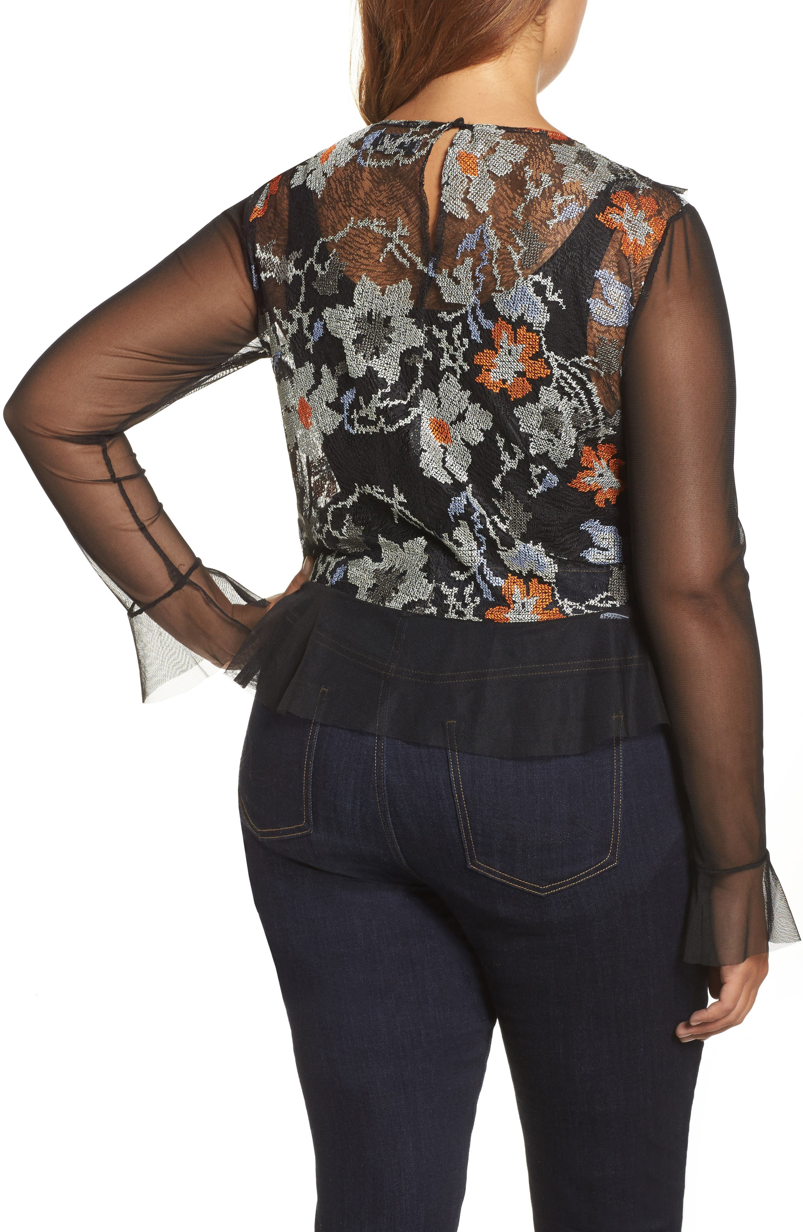 Alternate Image 2  - ELVI Abstract Floral Lace Top (Plus Size)