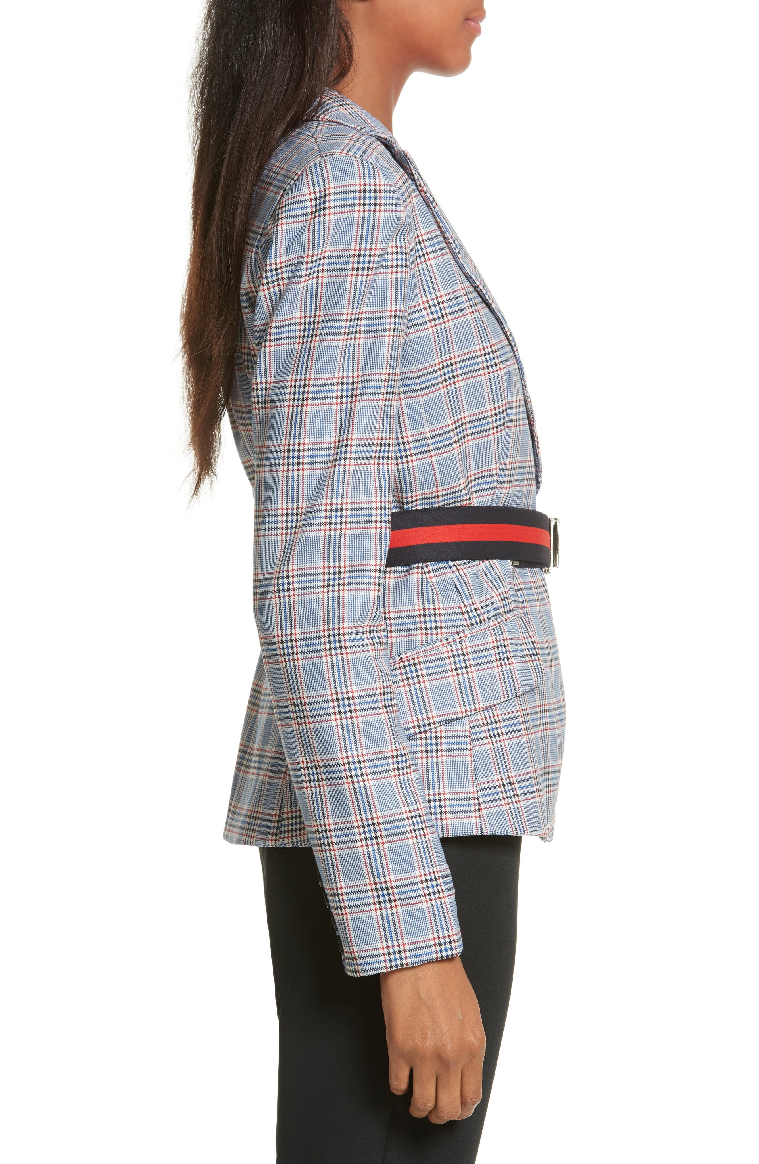 Check Suiting Belted Blazer,                             Alternate thumbnail 3, color,                             Multi