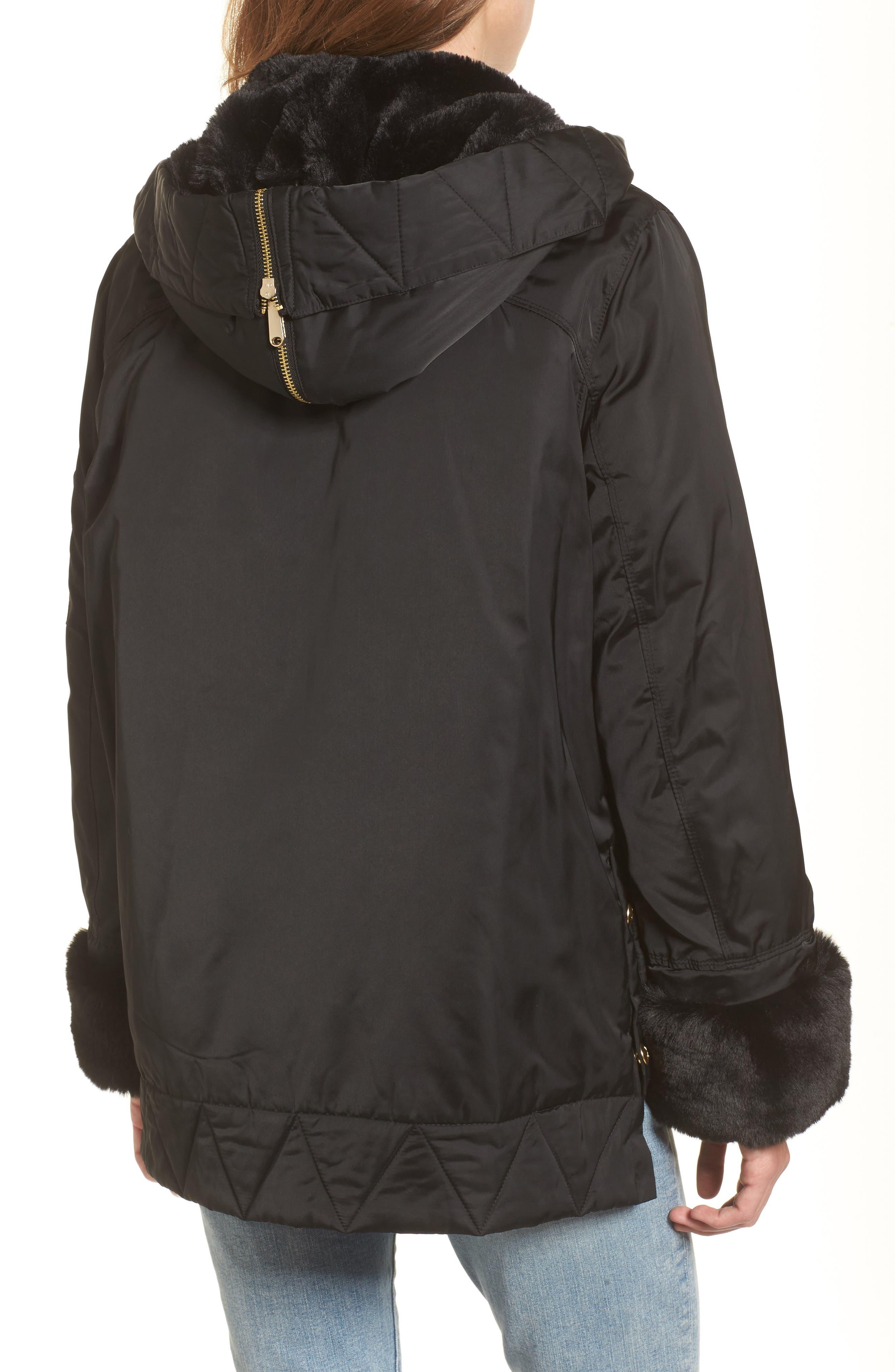Faux Fur Trim Military Jacket,                             Alternate thumbnail 2, color,                             Black