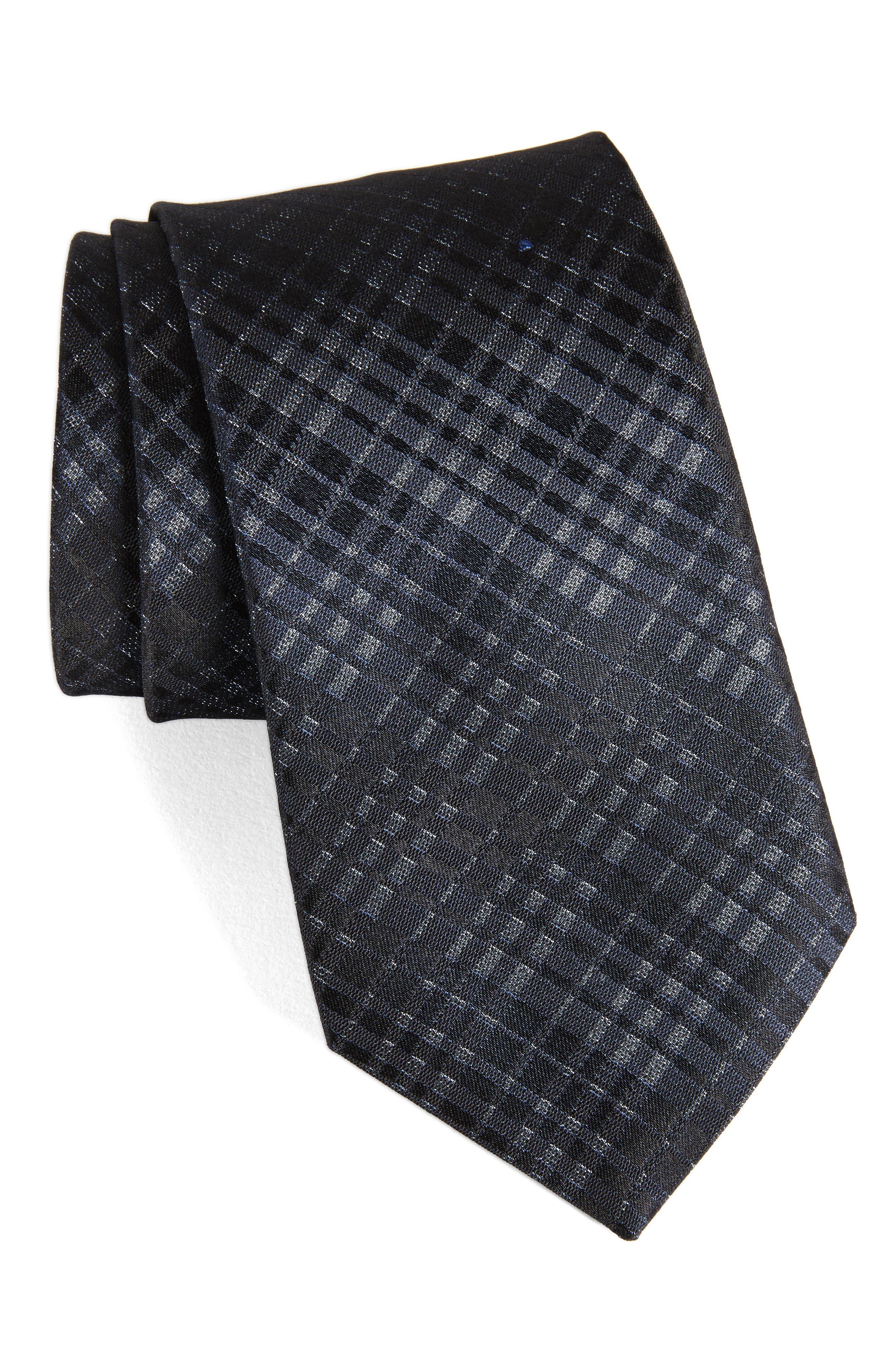 Plaid Silk Tie,                         Main,                         color, Indigo