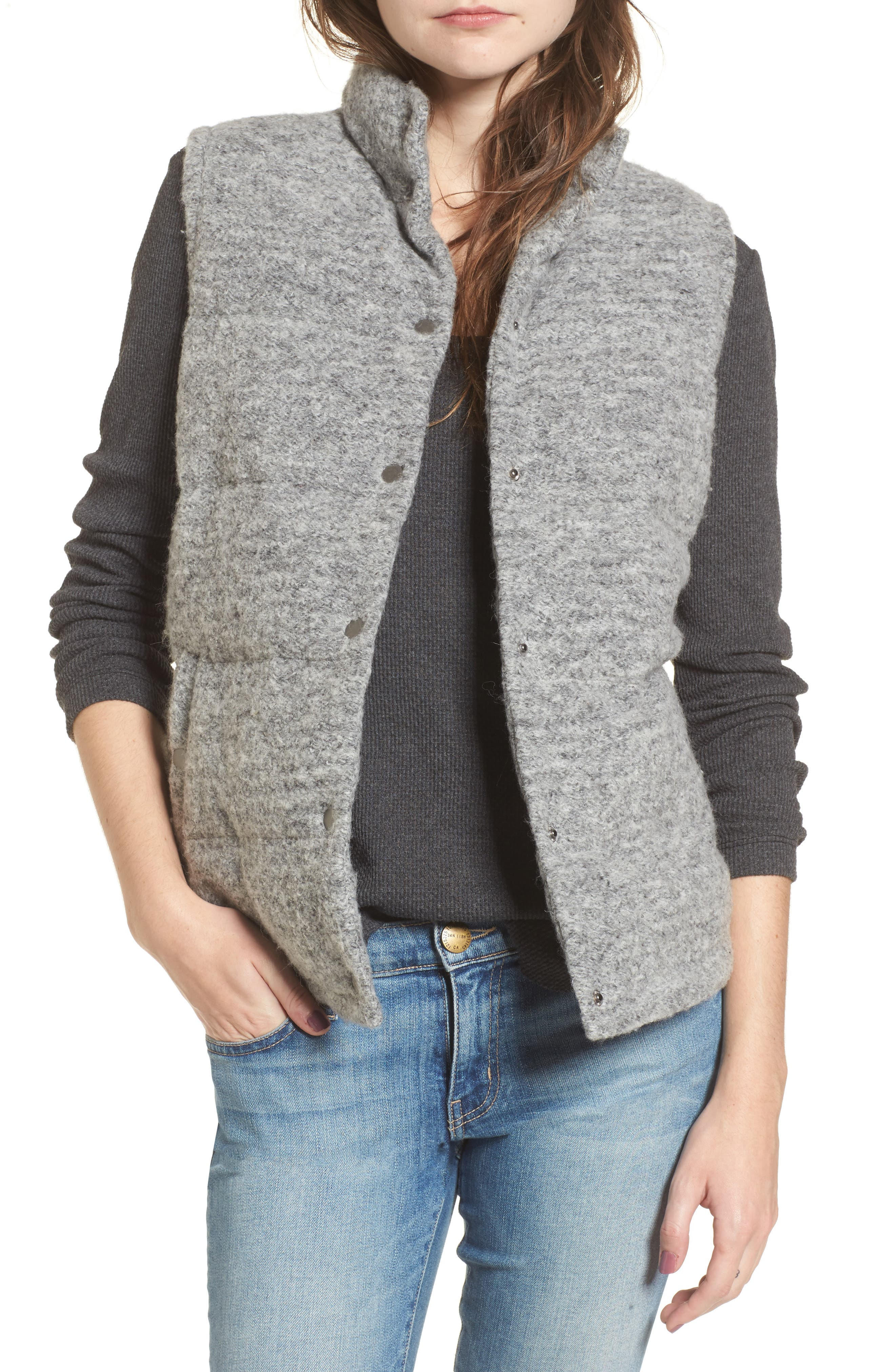 Aderyn Knit Puffer Vest,                         Main,                         color, Heather Grey