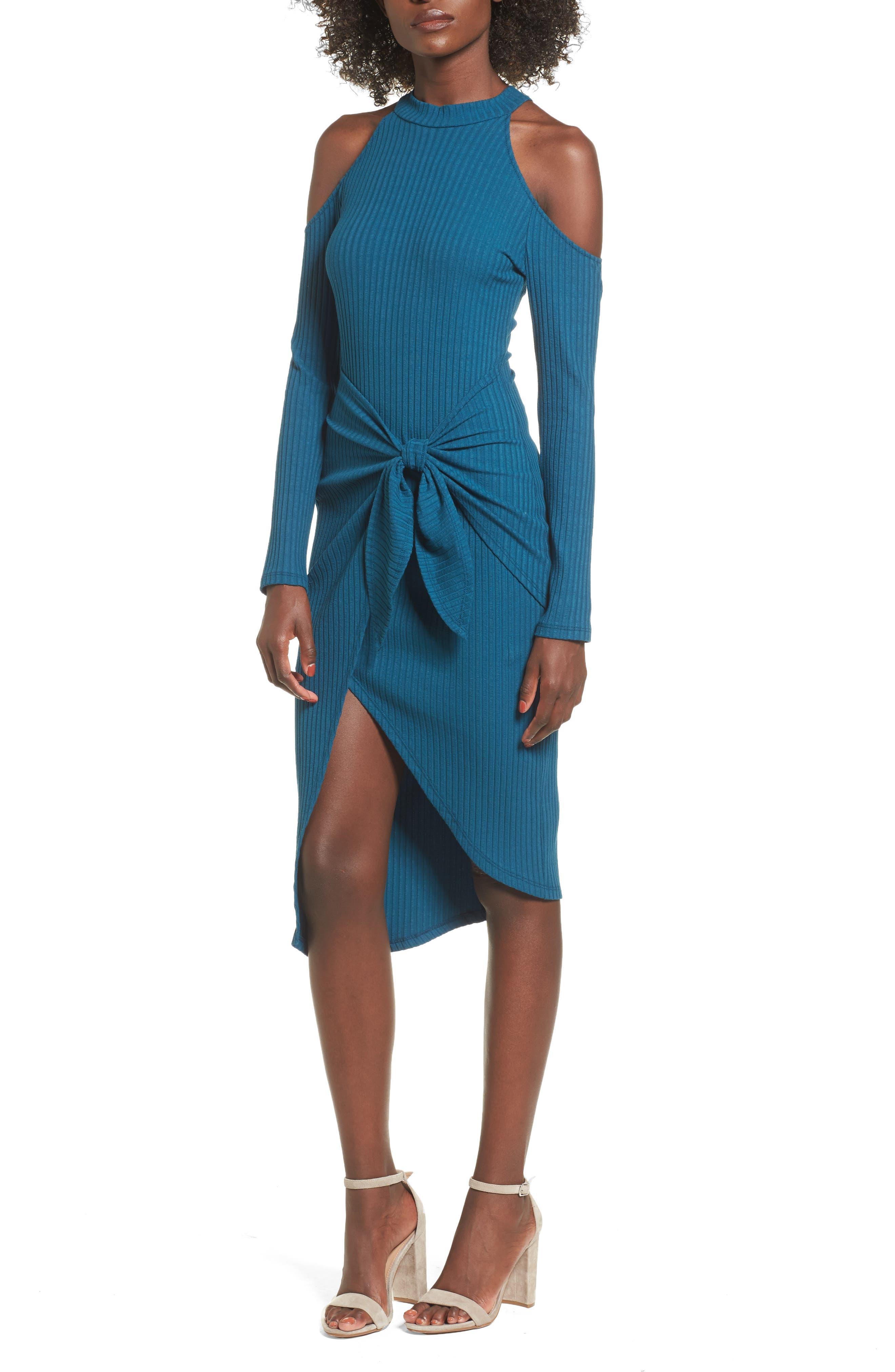 Tie Waist Cold Shoulder Dress