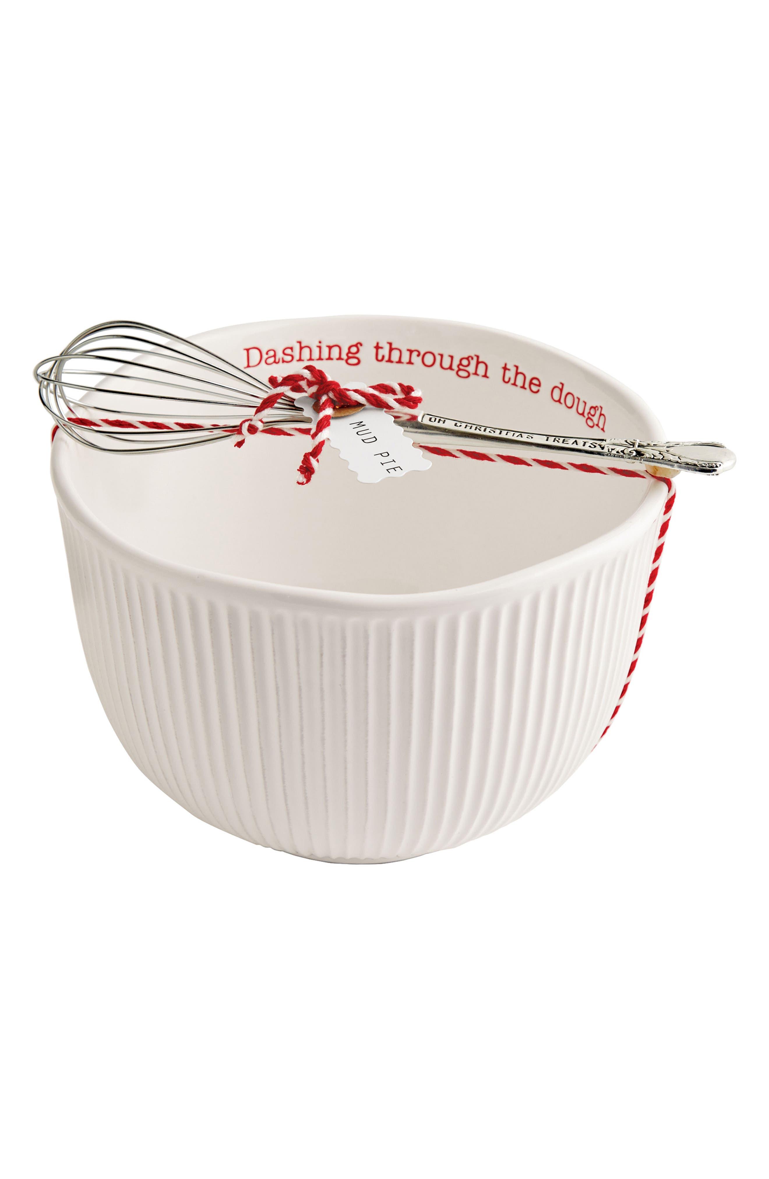 Main Image - Mud Pie Holiday Stoneware Mixing Bowl & Whisk