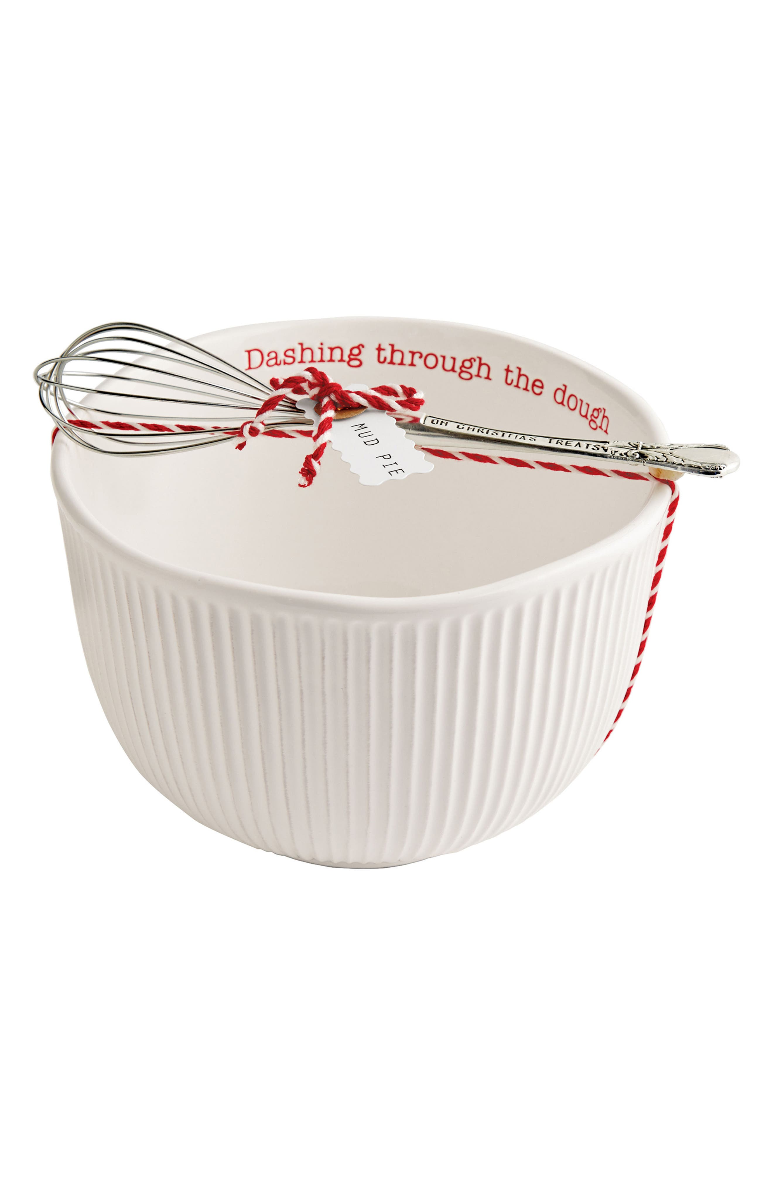 Holiday Stoneware Mixing Bowl & Whisk,                         Main,                         color, White