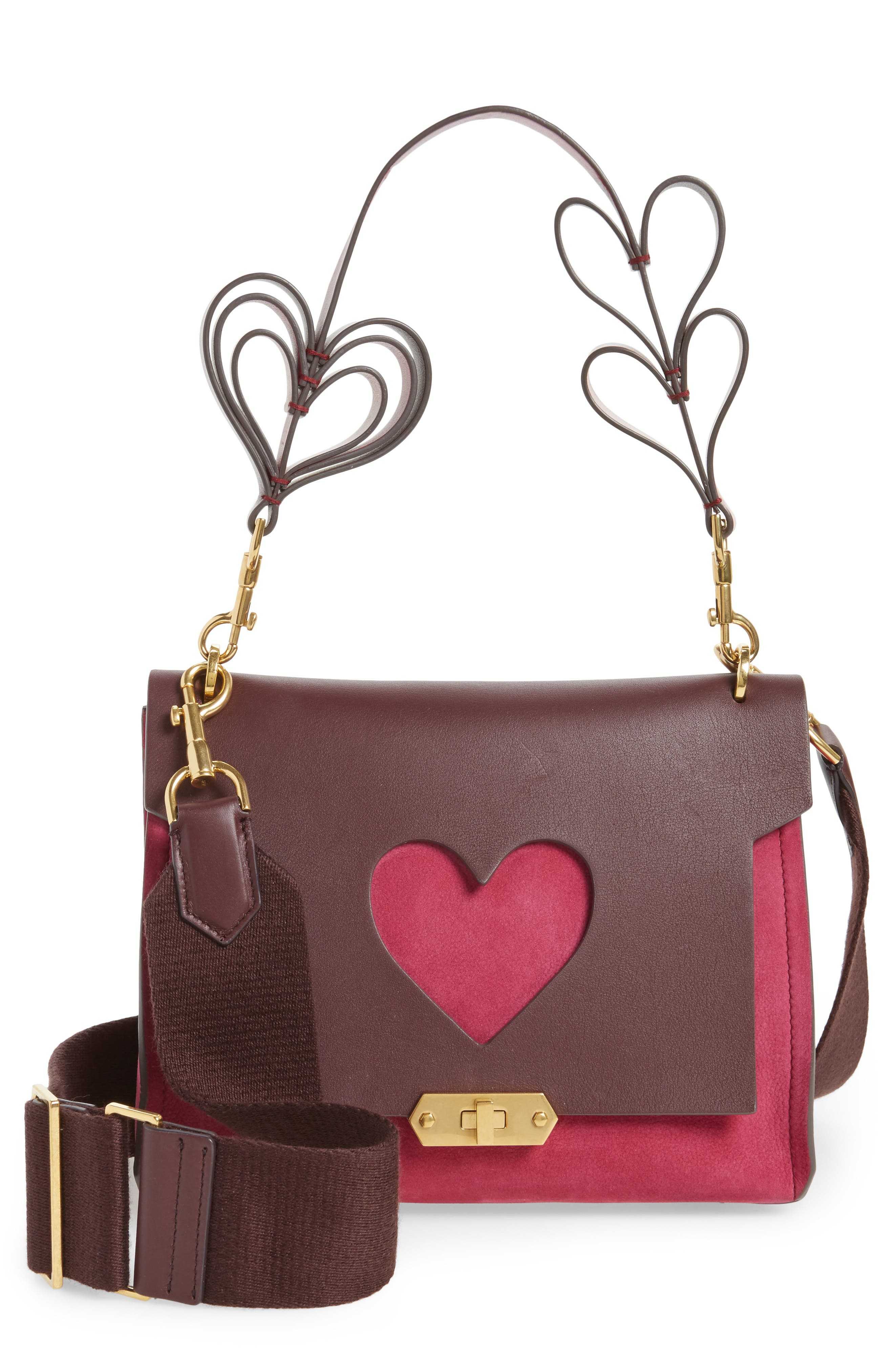 Extra Small Bathhurst Heart Leather Shoulder Bag,                             Main thumbnail 1, color,                             Raspberry
