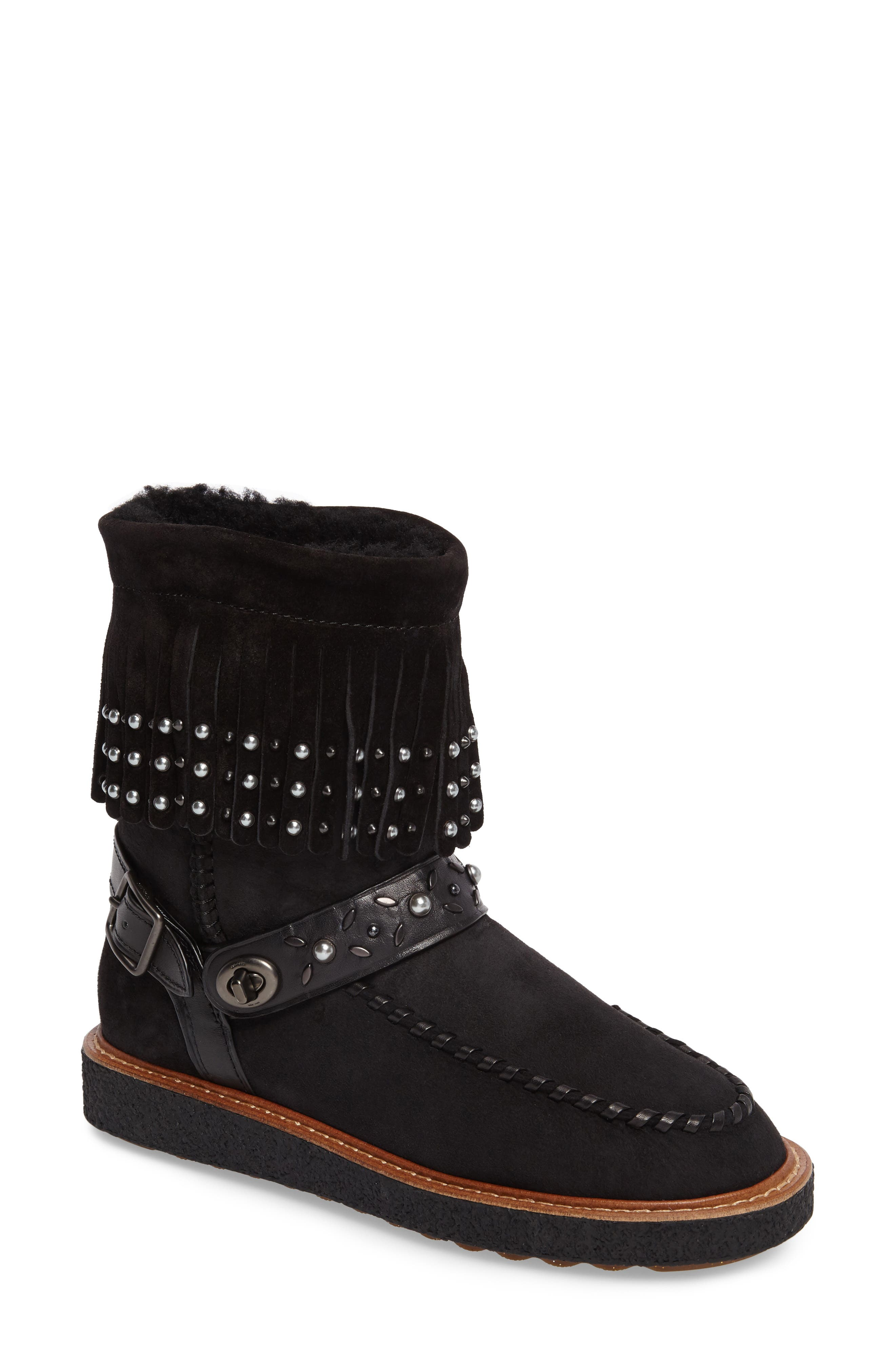 COACH Rocc Genuine Shearling Lined Boot (Women)
