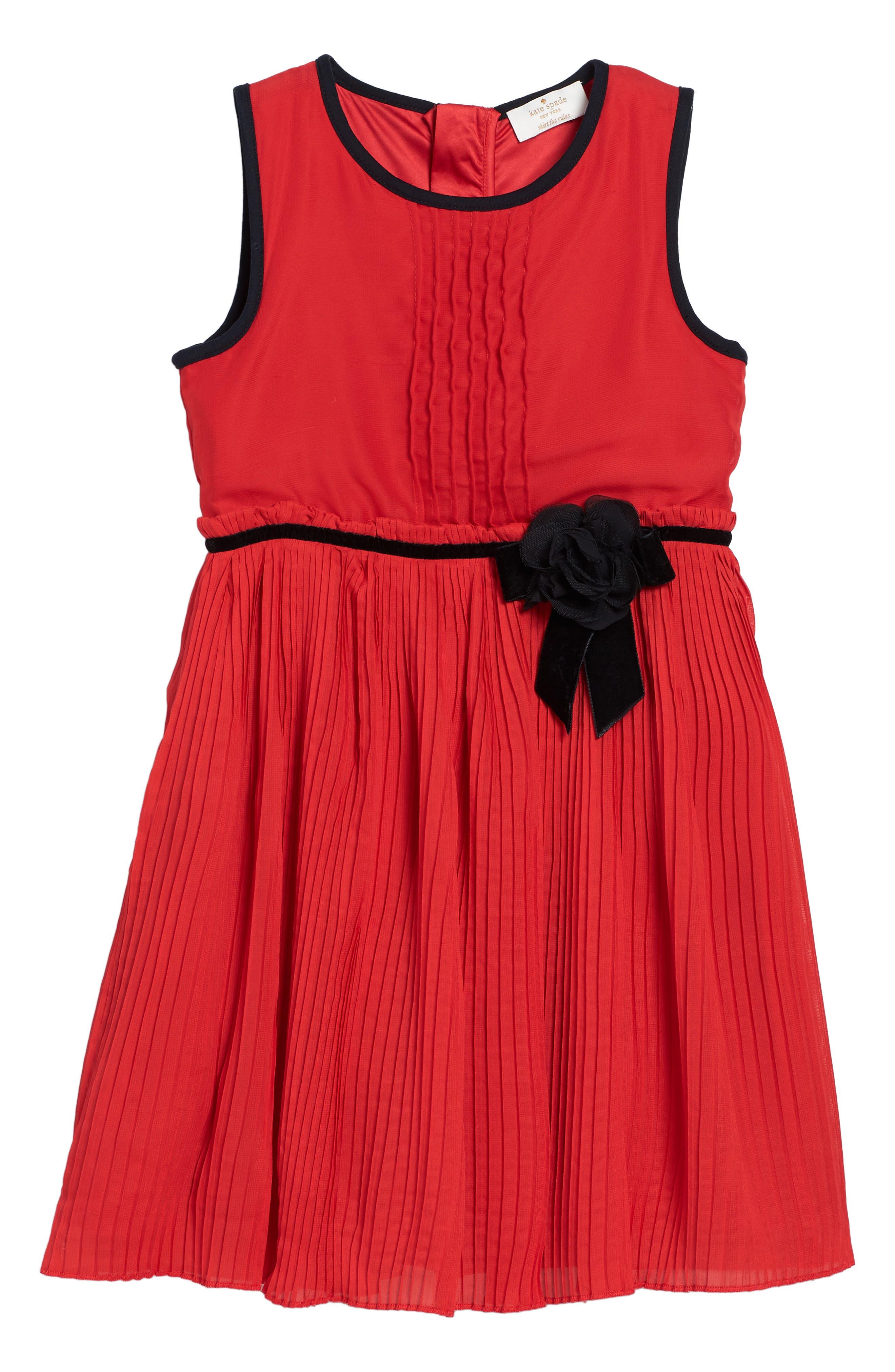 Alternate Image 1 Selected - kate spade new york pleated chiffon party dress (Big Girls)