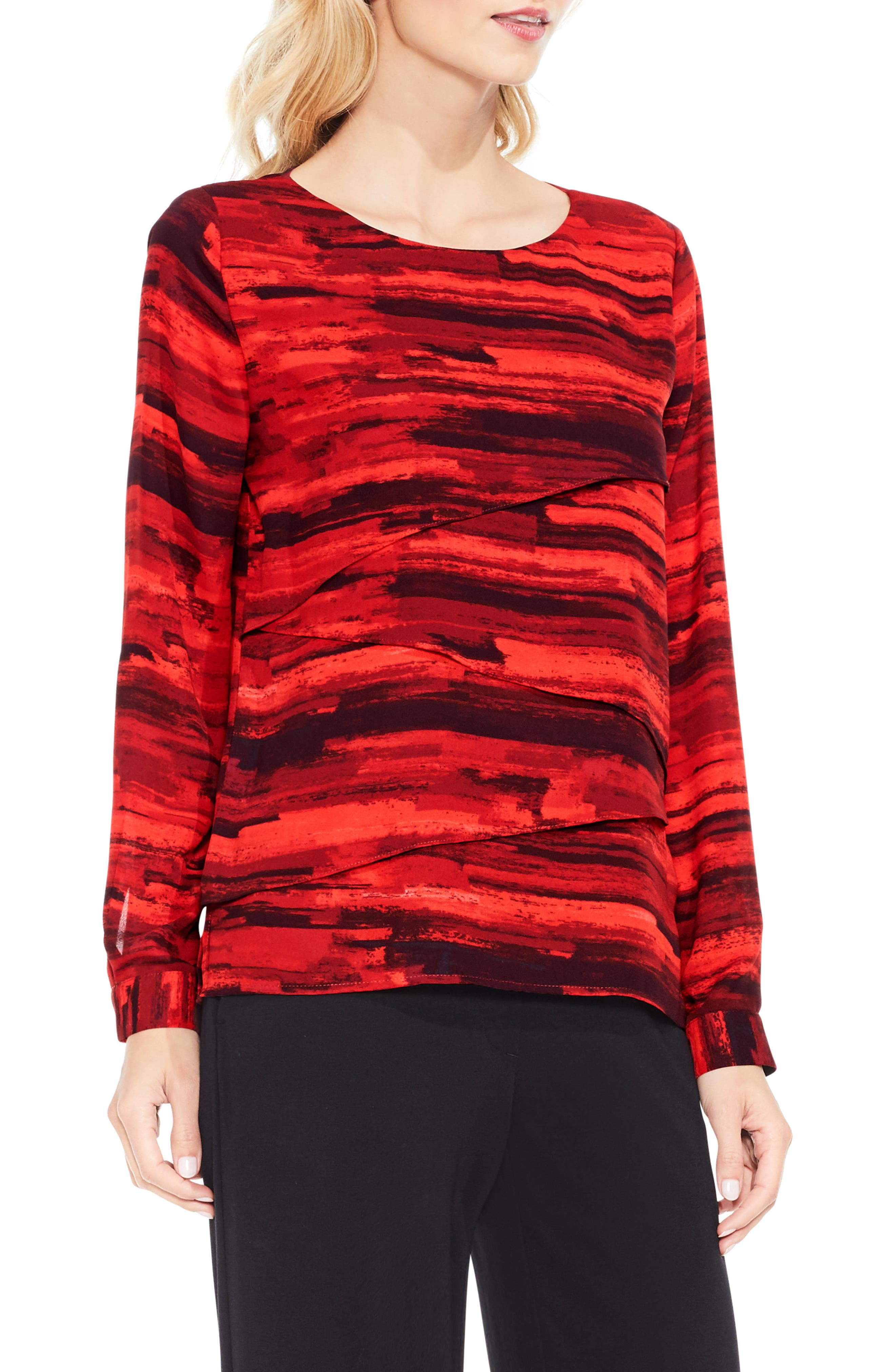 Vince Camuto Muses Print Tiered Blouse