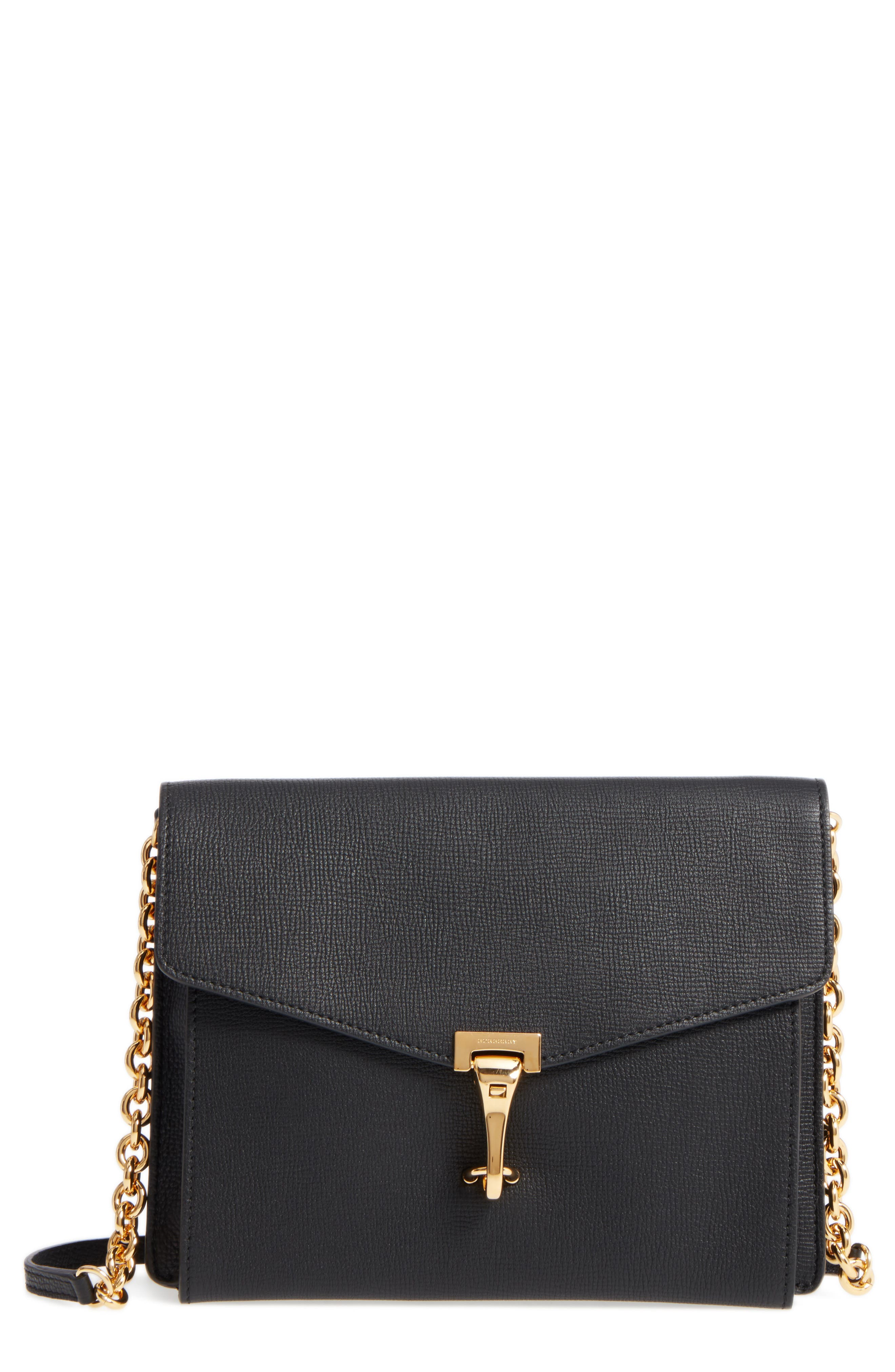 Macken Leather Crossbody Bag,                         Main,                         color, Black