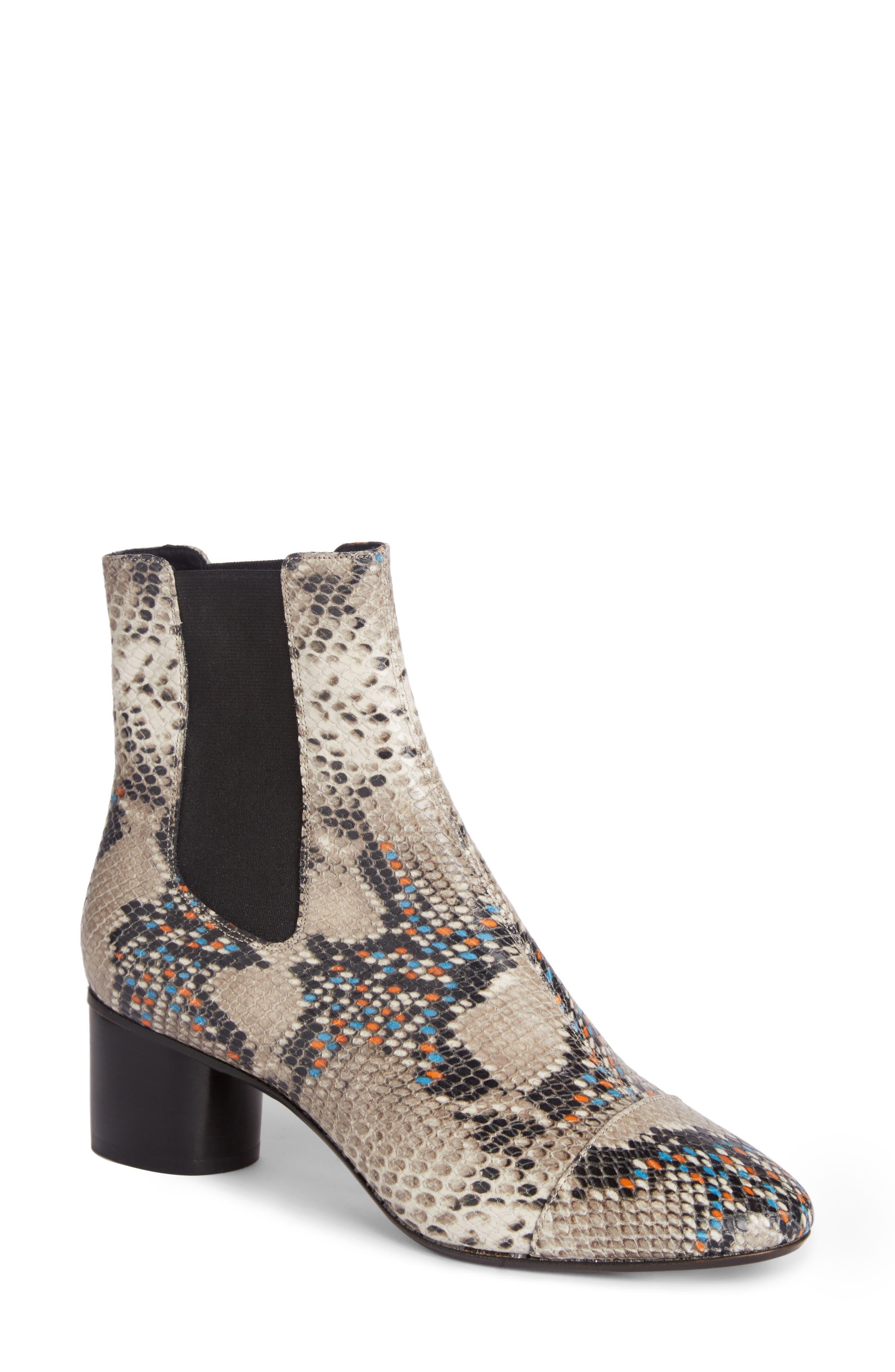 Danelya Snakeskin Embossed Chelsea Boot,                         Main,                         color, Grey