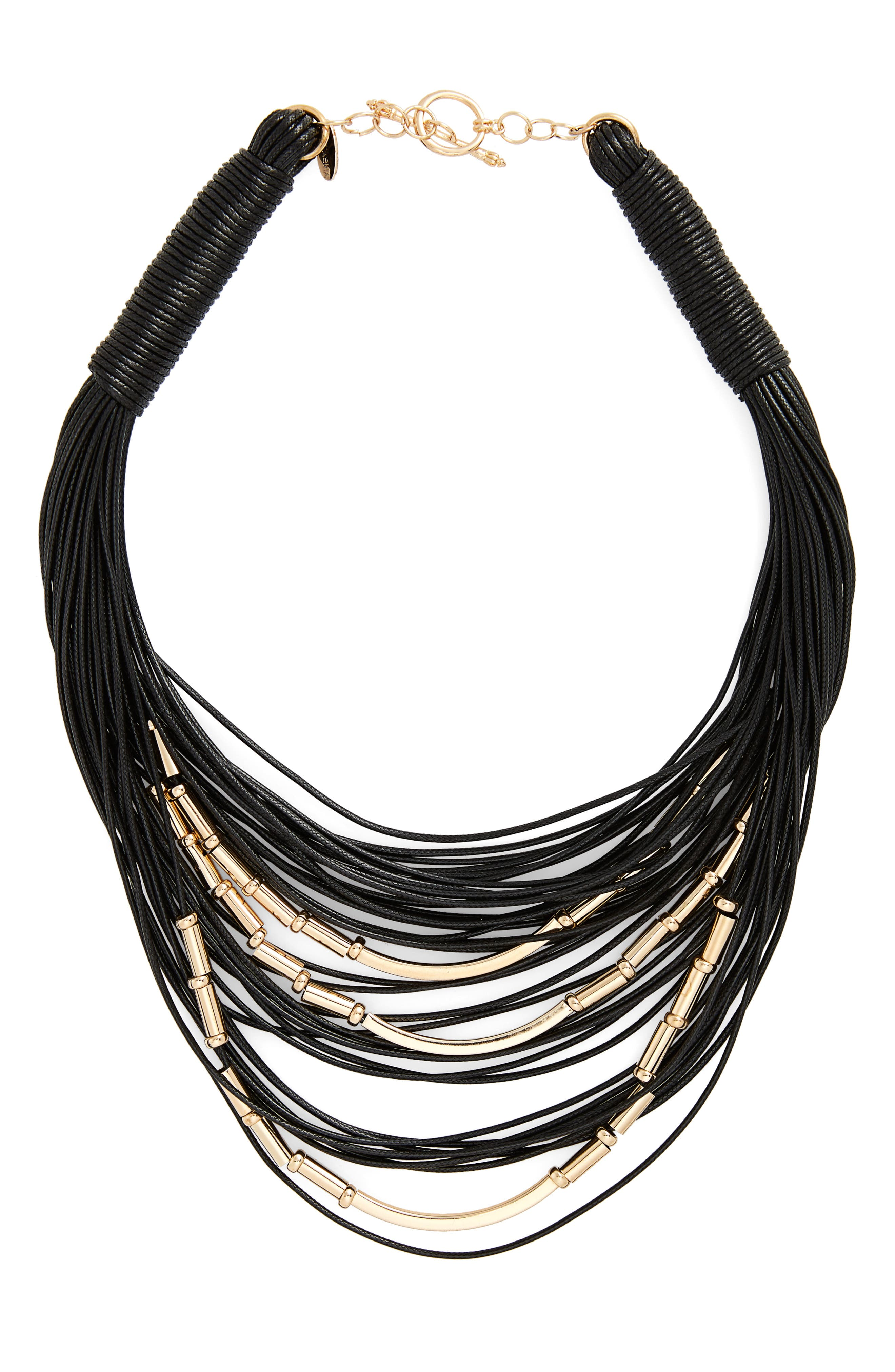 Beaded Multistrand Necklace,                         Main,                         color, Black/ Gold