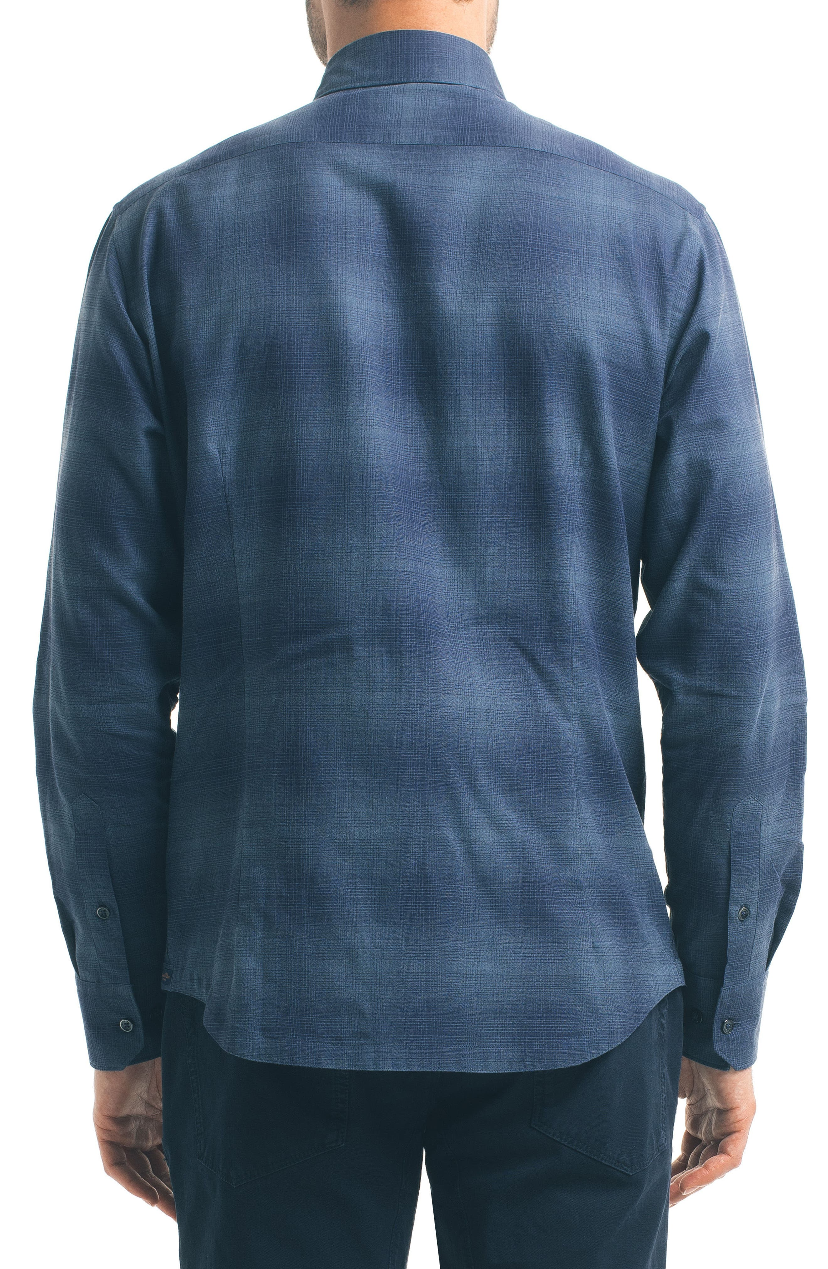 Check Sport Shirt,                             Alternate thumbnail 2, color,                             Navy