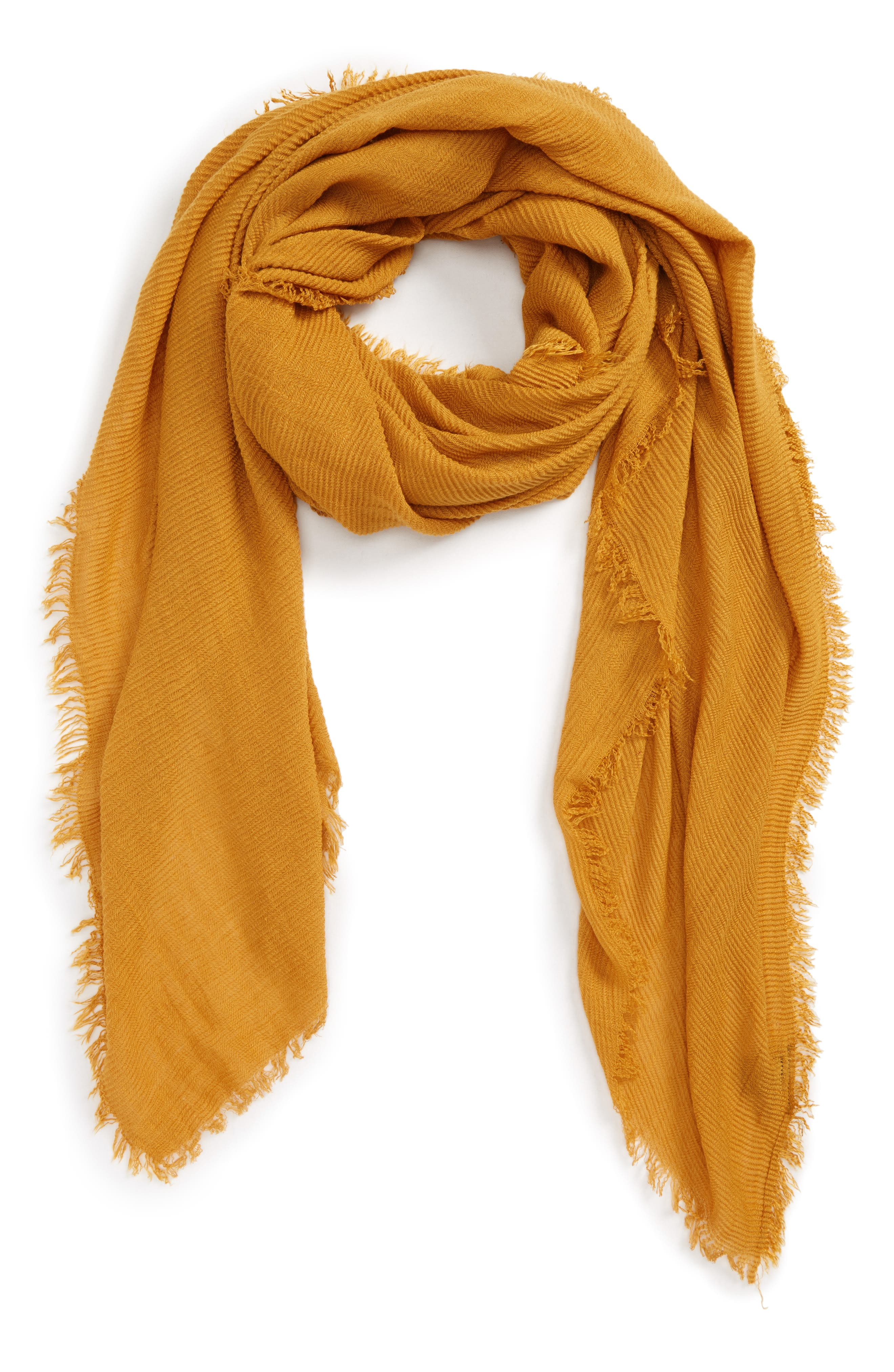 Pleated Fringe Scarf,                         Main,                         color, Mustard
