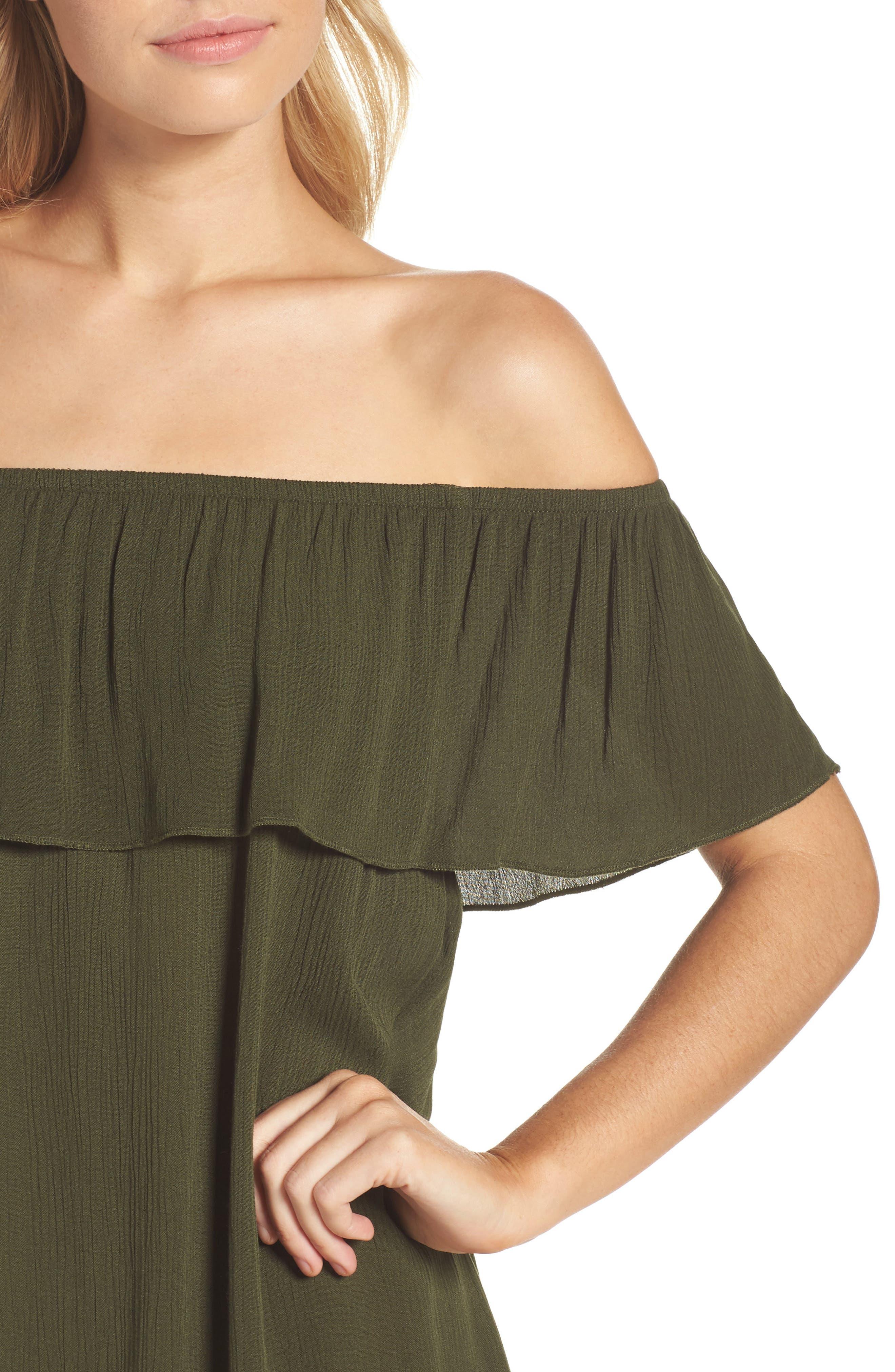 Southern Belle Off the Shoulder Cover-Up Dress,                             Alternate thumbnail 4, color,                             Bay Leaf