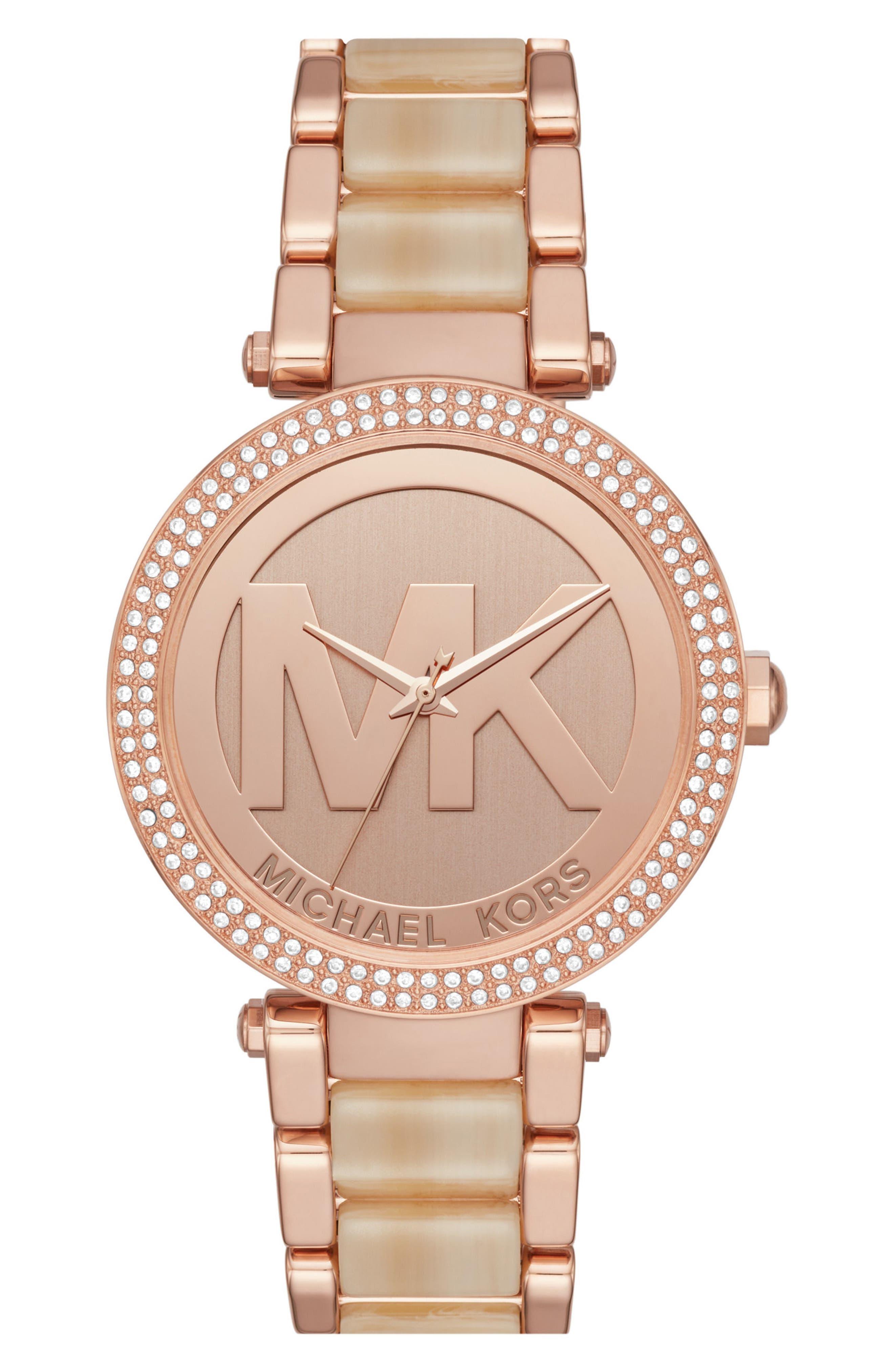 Alternate Image 1 Selected - Michael Kors Parker Logo Acetate Bracelet Watch, 39mm