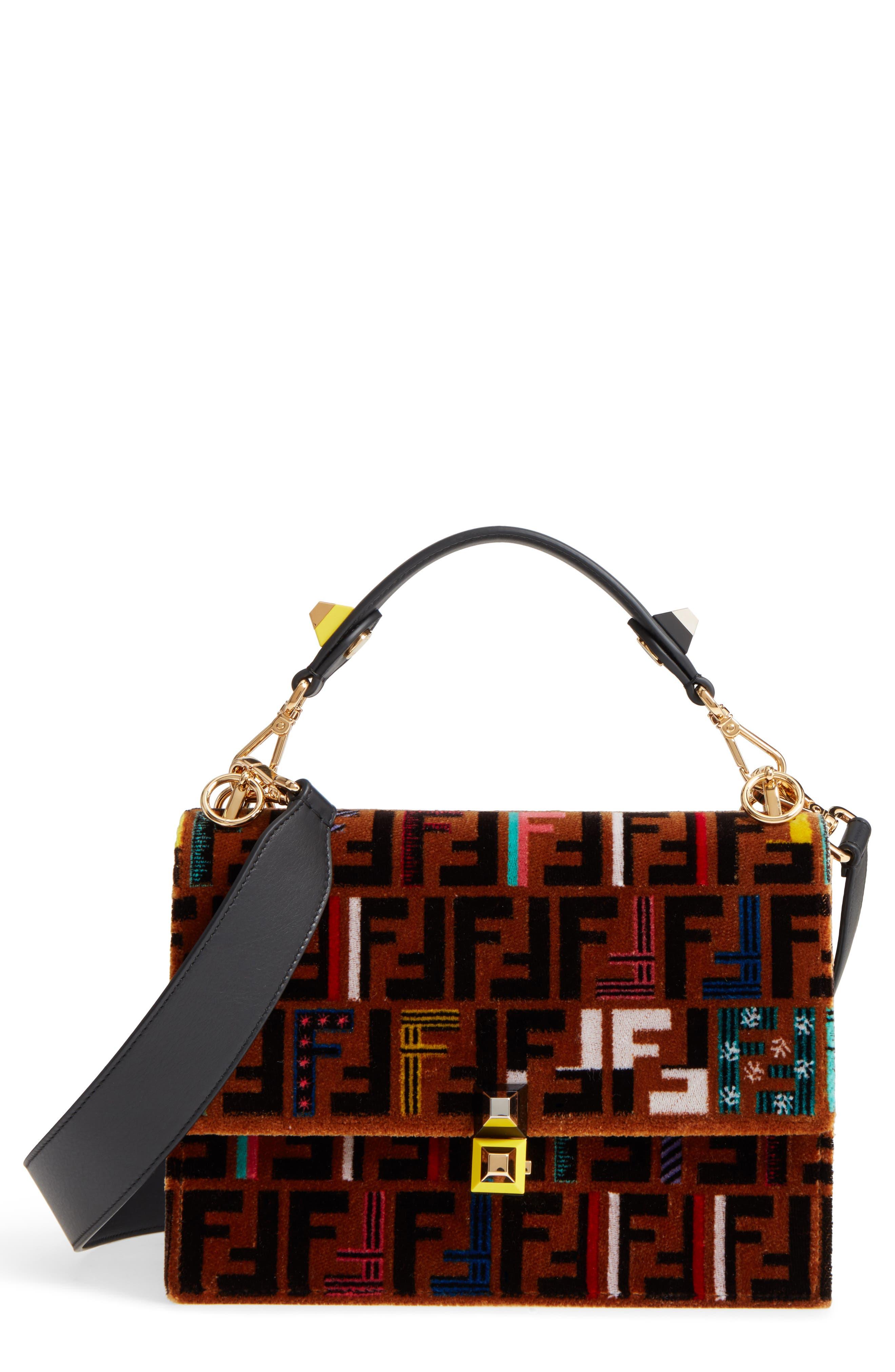 Main Image - Fendi Kan I Tappetino Velvet Shoulder Bag